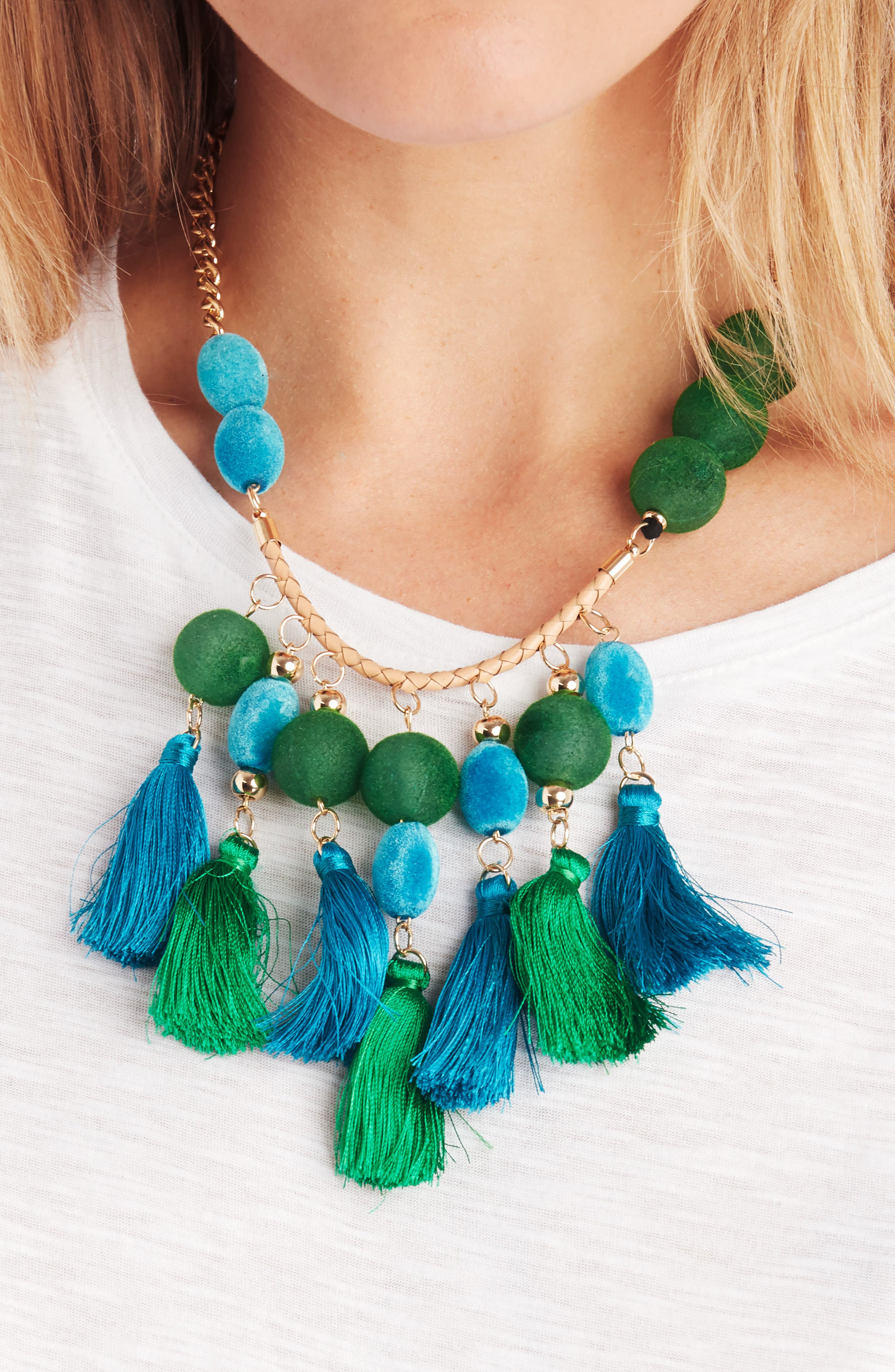Empire Statement Tassel Necklace,                             Alternate thumbnail 2, color,                             Green Multi