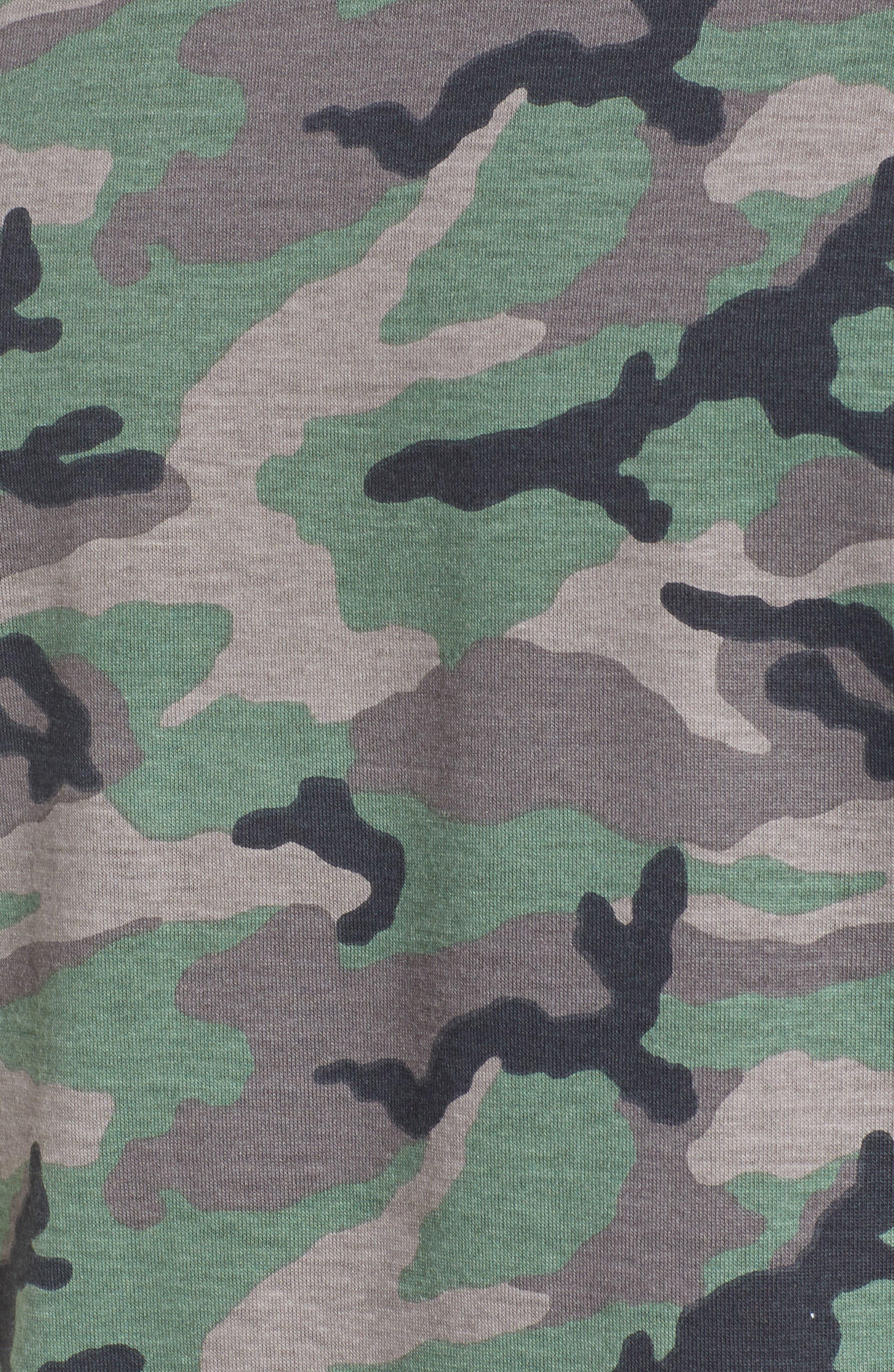 Camo Print Ringer T-Shirt,                             Alternate thumbnail 5, color,                             Brown Green Camo
