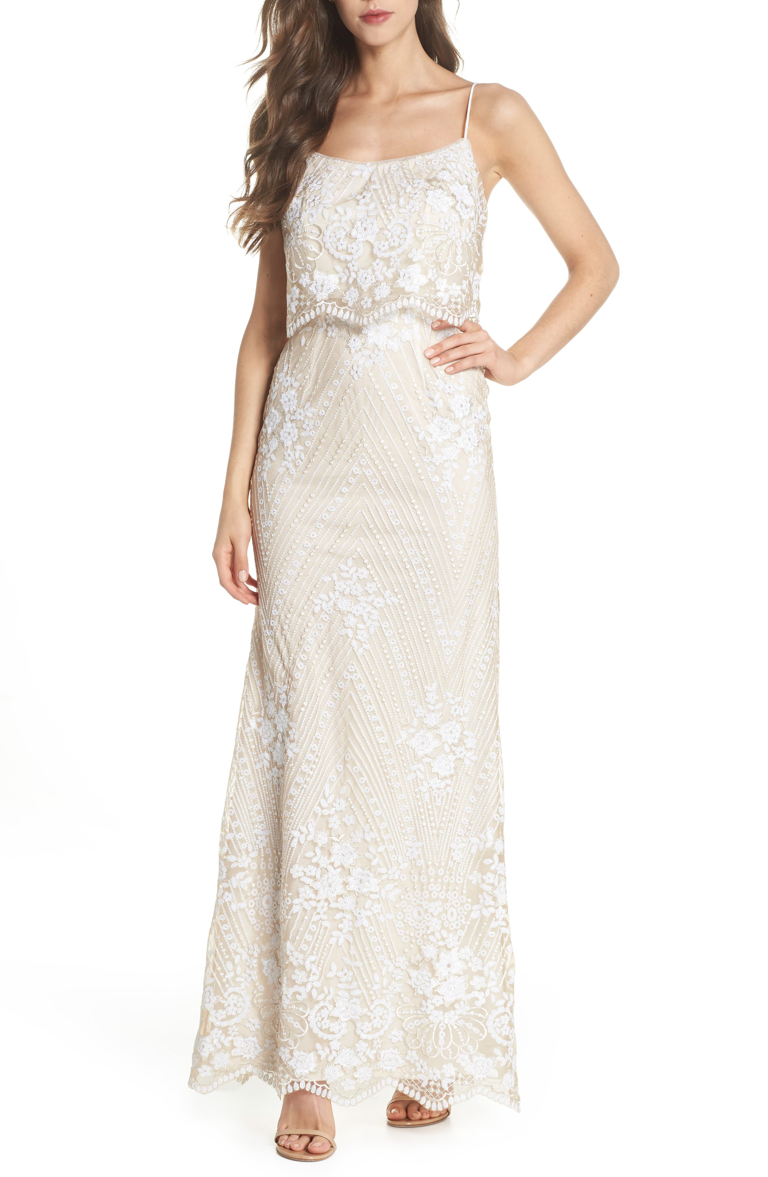 Sequin Popover Mermaid Gown,                             Main thumbnail 1, color,                             Pearl