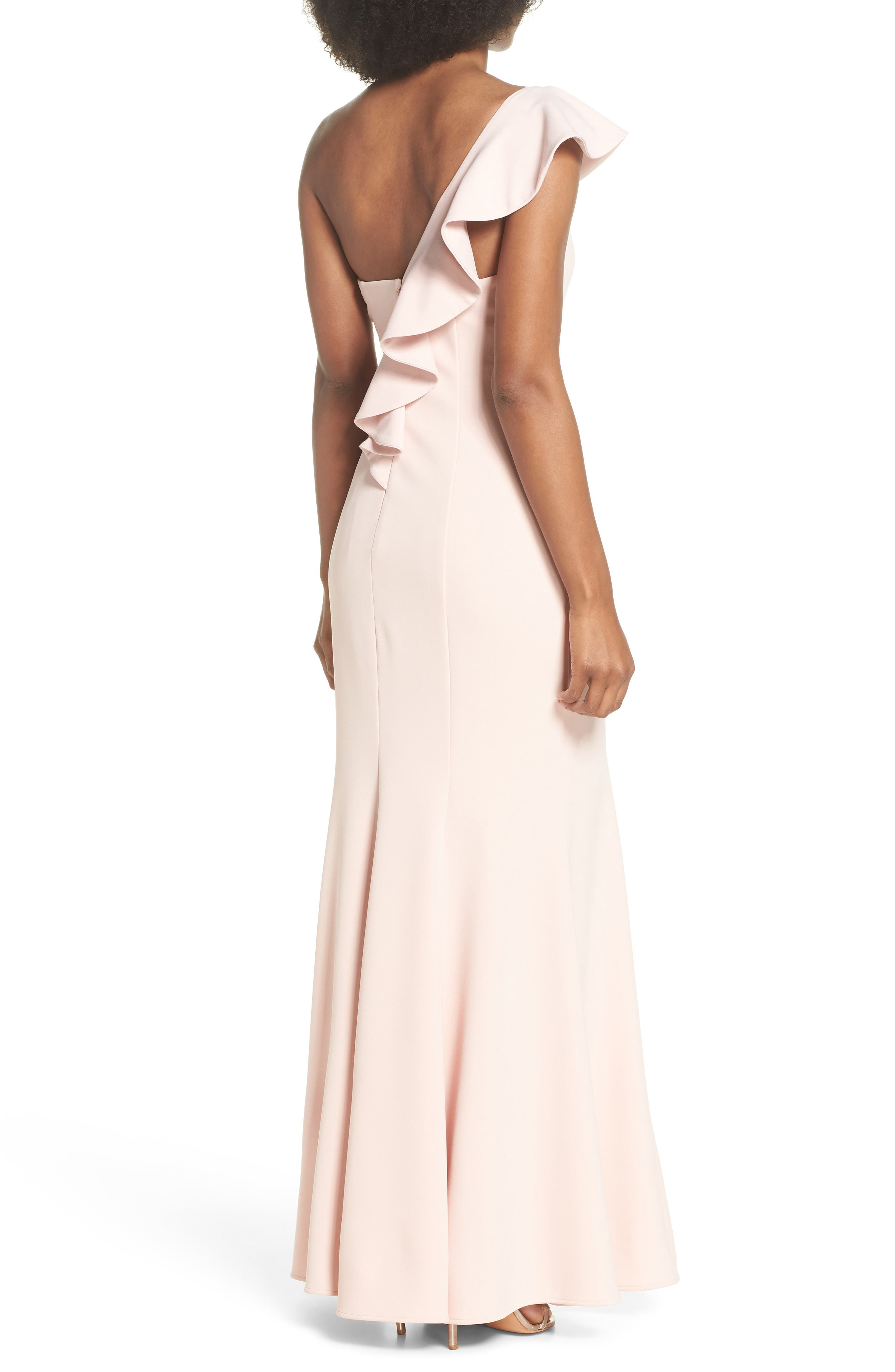 One-Shoulder Ruffle Gown,                             Alternate thumbnail 2, color,                             Blush