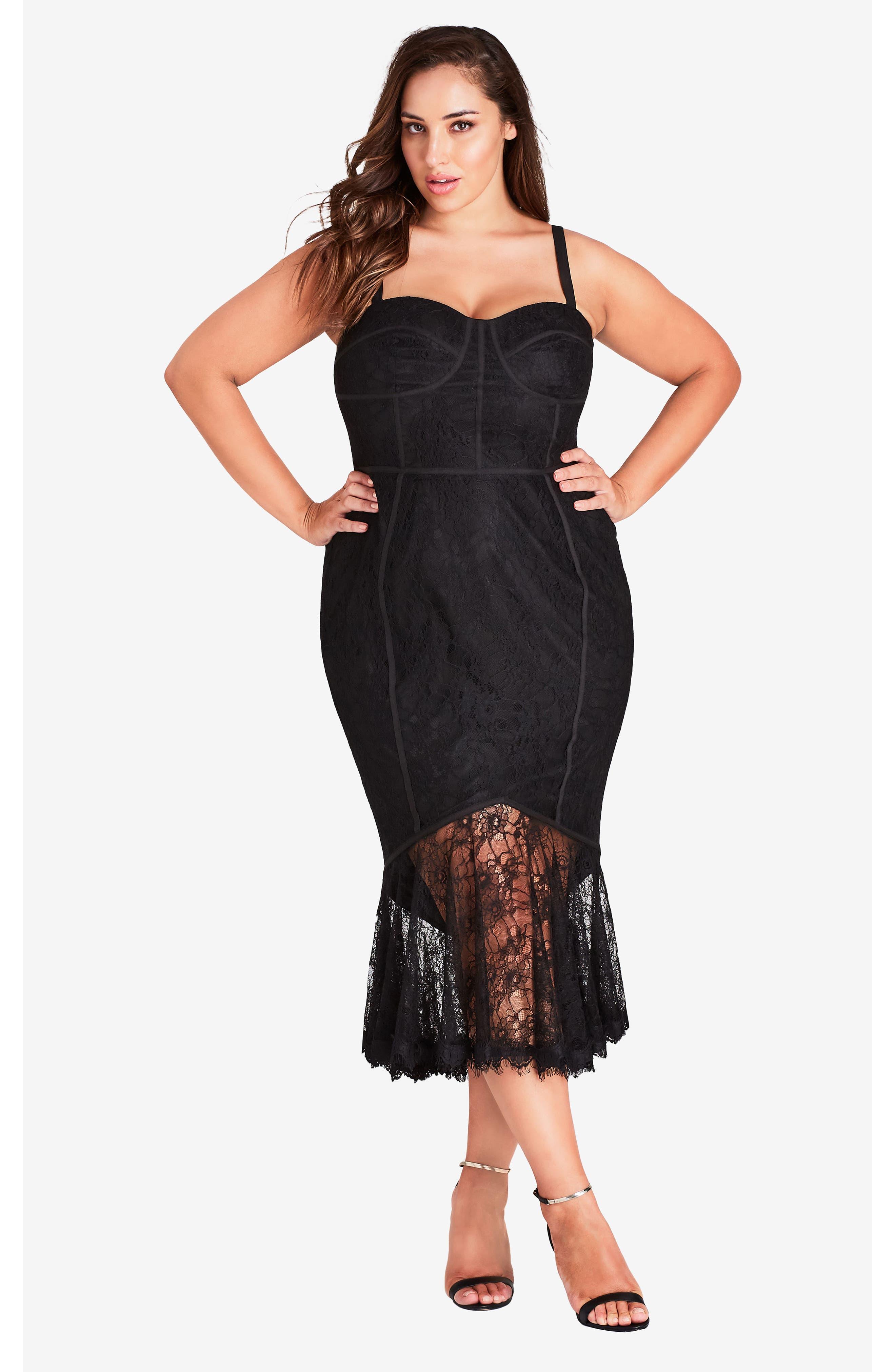 So Seductive Ruffle Hem Lace Body-Con Dress,                             Alternate thumbnail 4, color,                             Black