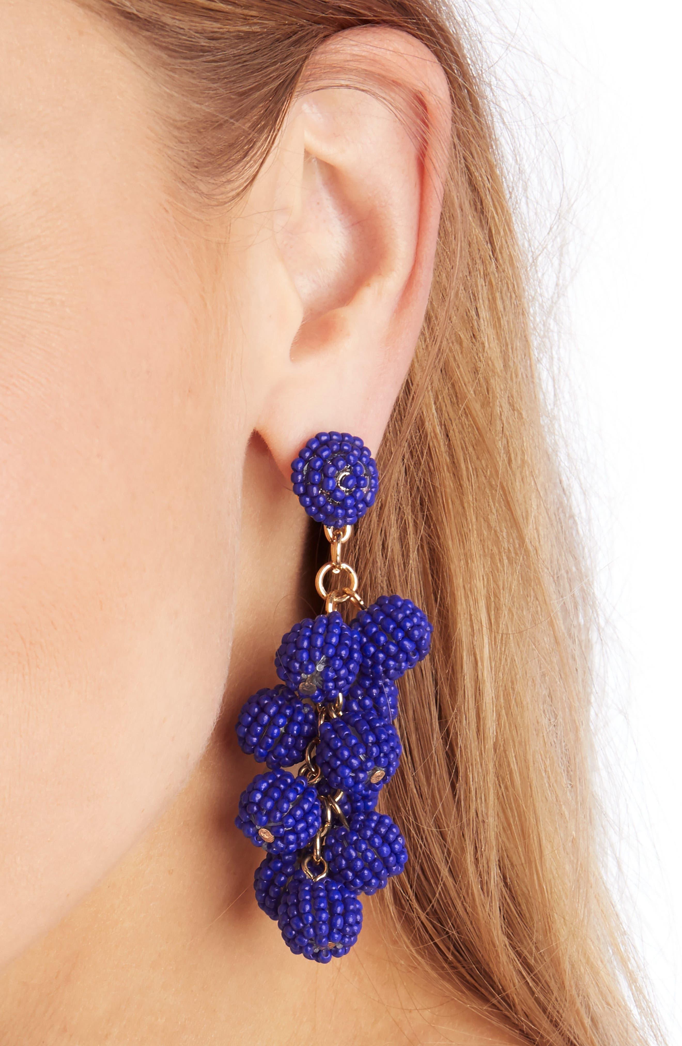 Beaded Cluster Earrings,                             Alternate thumbnail 2, color,                             Blue