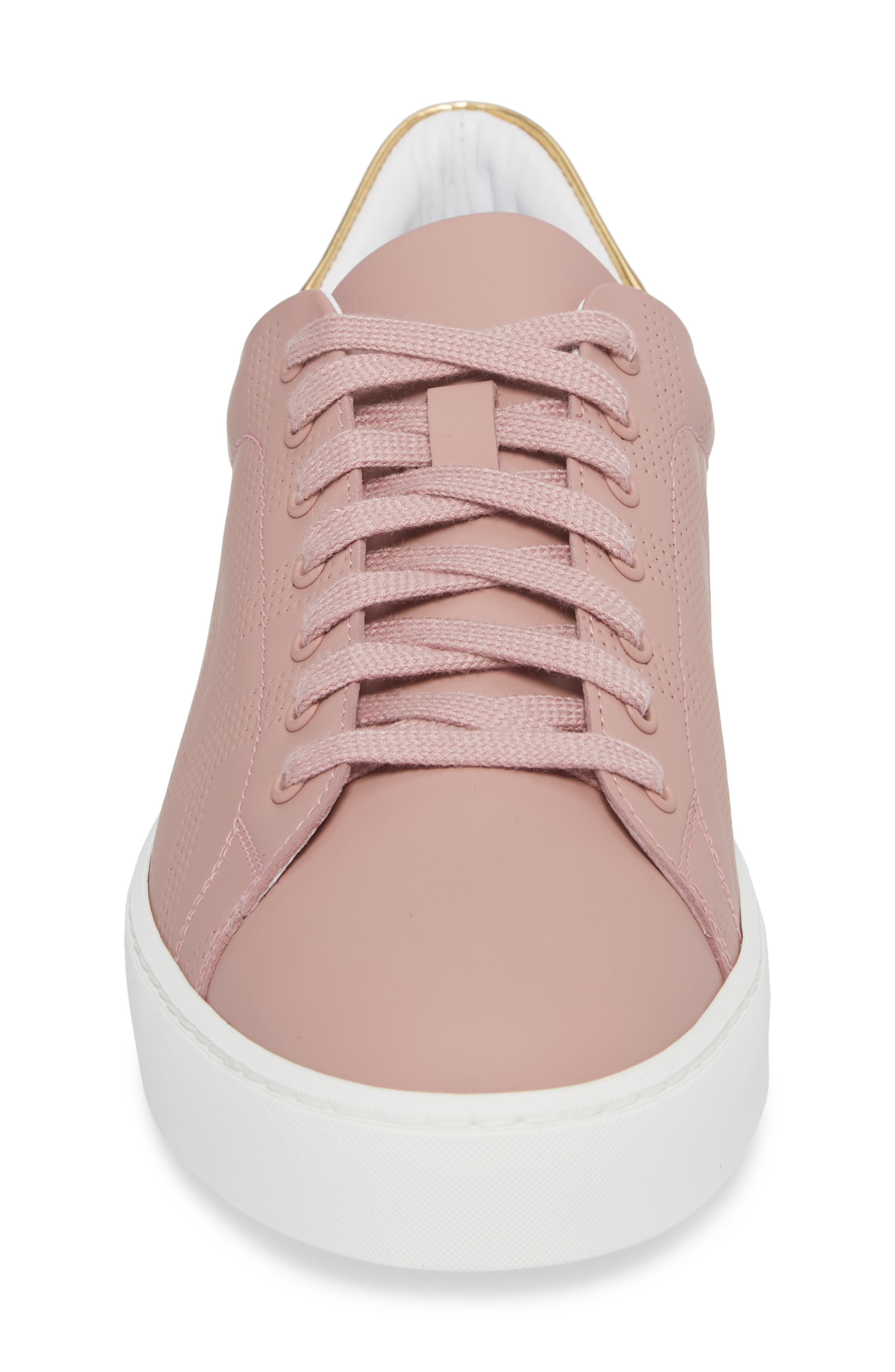 Perforated Check Sneaker,                             Alternate thumbnail 4, color,                             Rose Pink