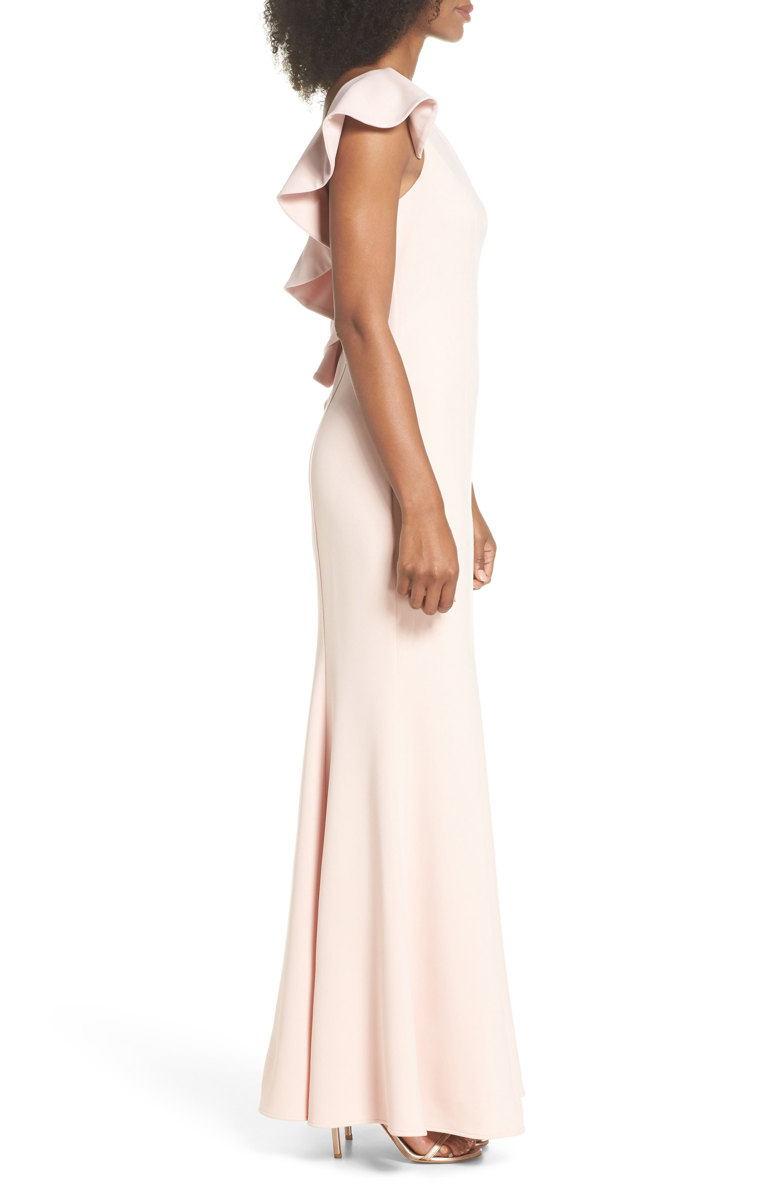 One-Shoulder Ruffle Gown,                             Alternate thumbnail 3, color,                             Blush