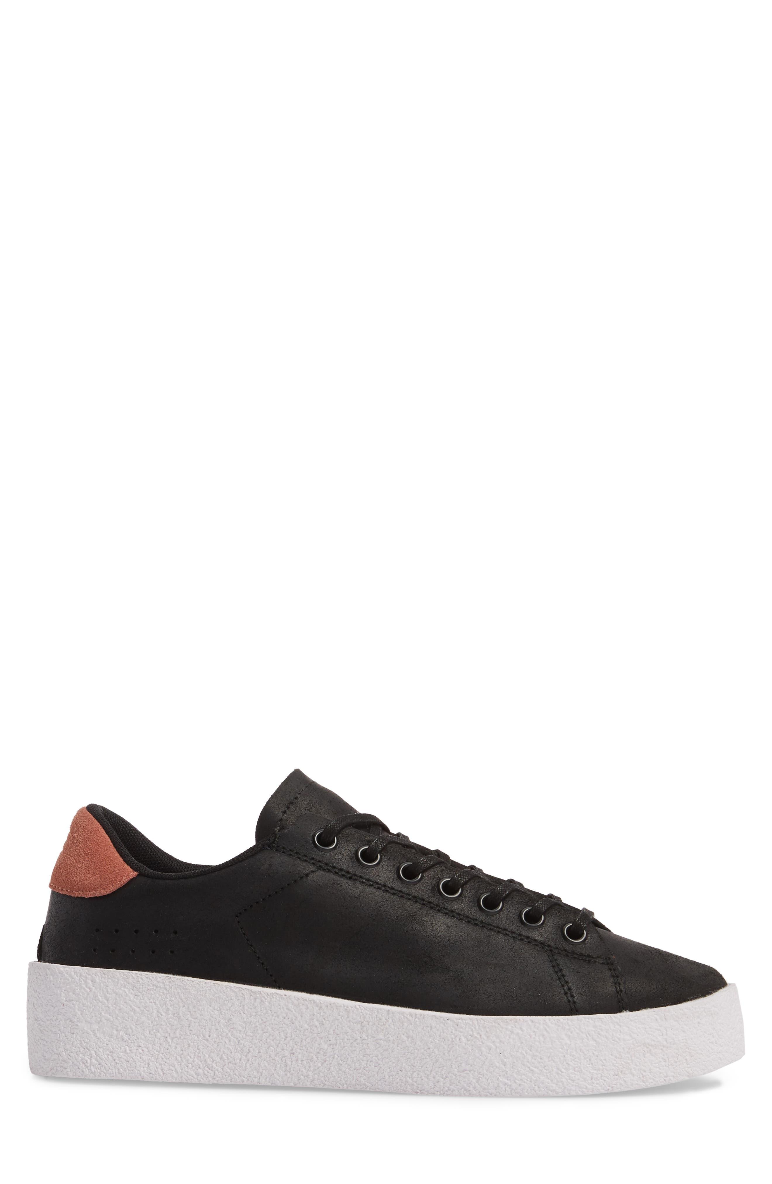 Jones Platform Sneaker,                             Alternate thumbnail 3, color,                             Black Leather