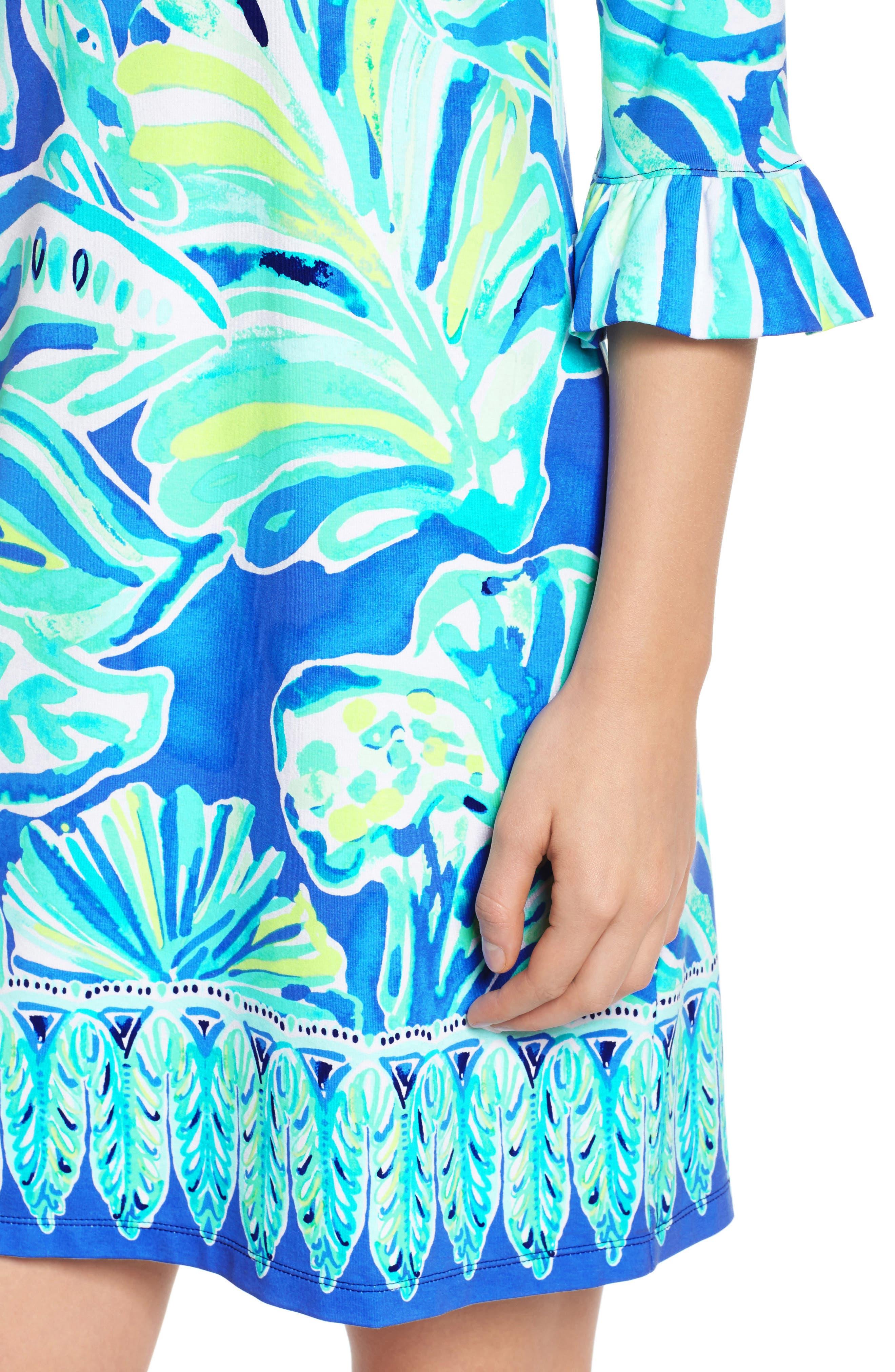 Sophie UPF 50+ Shift Dress,                             Alternate thumbnail 4, color,                             Beckon Blue Palm Passage