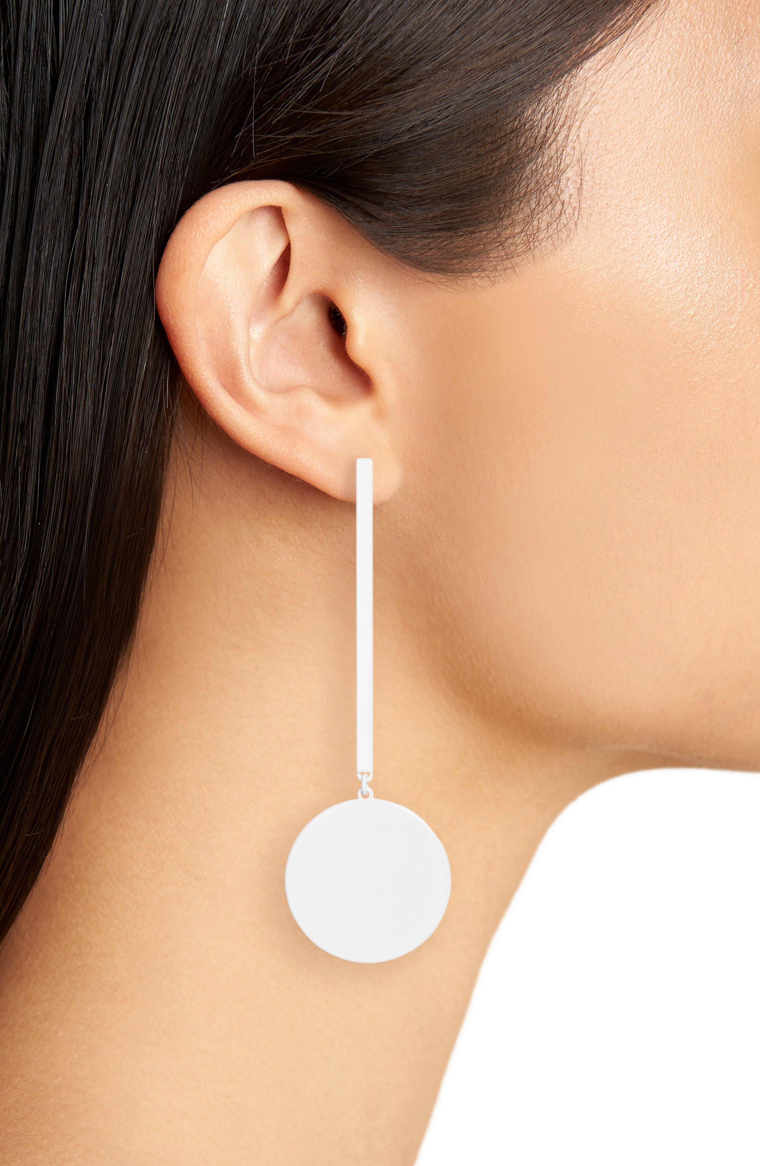 The Asymmetrical Andies Earrings,                             Alternate thumbnail 2, color,                             White