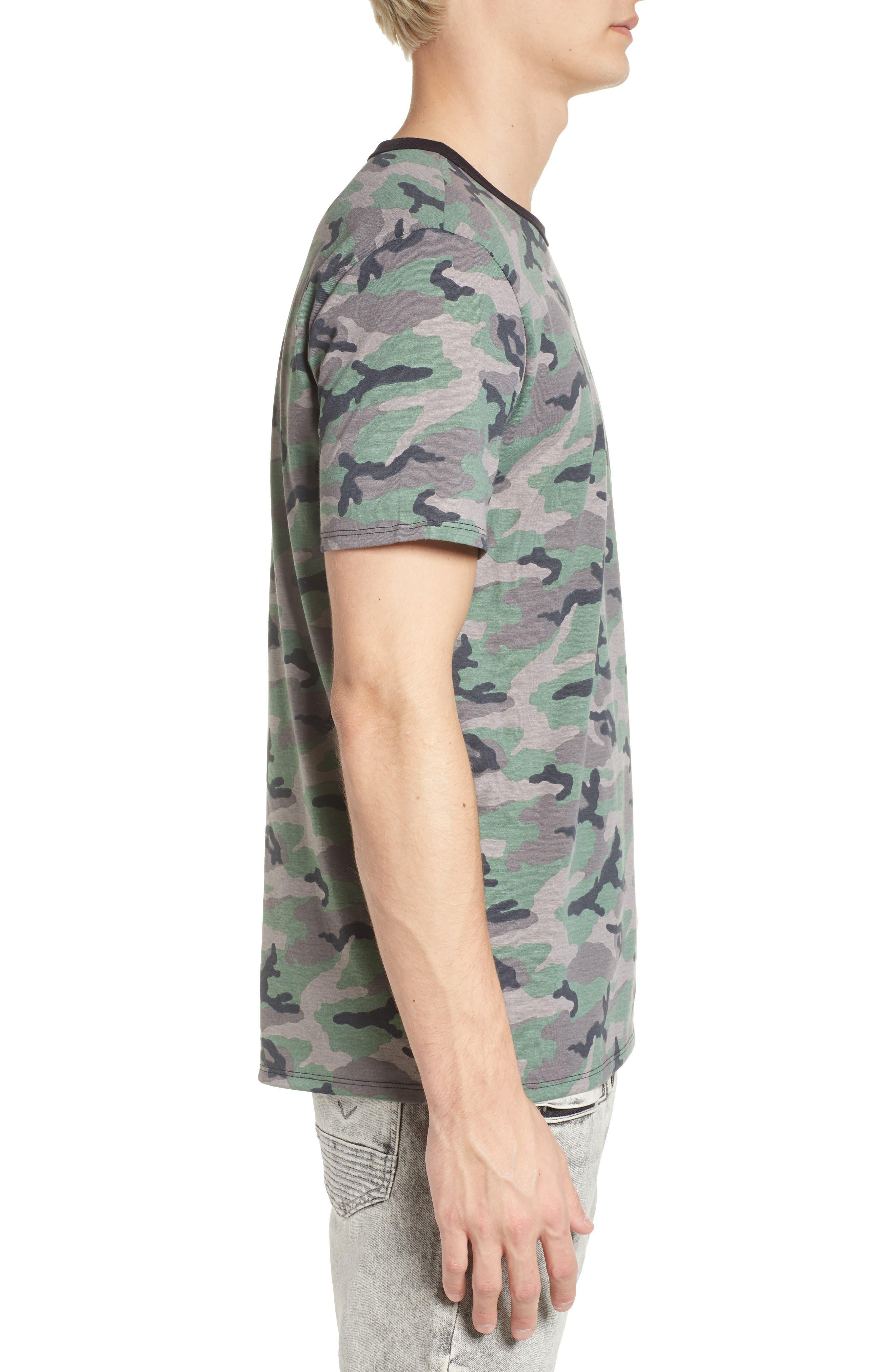 Camo Print Ringer T-Shirt,                             Alternate thumbnail 3, color,                             Brown Green Camo