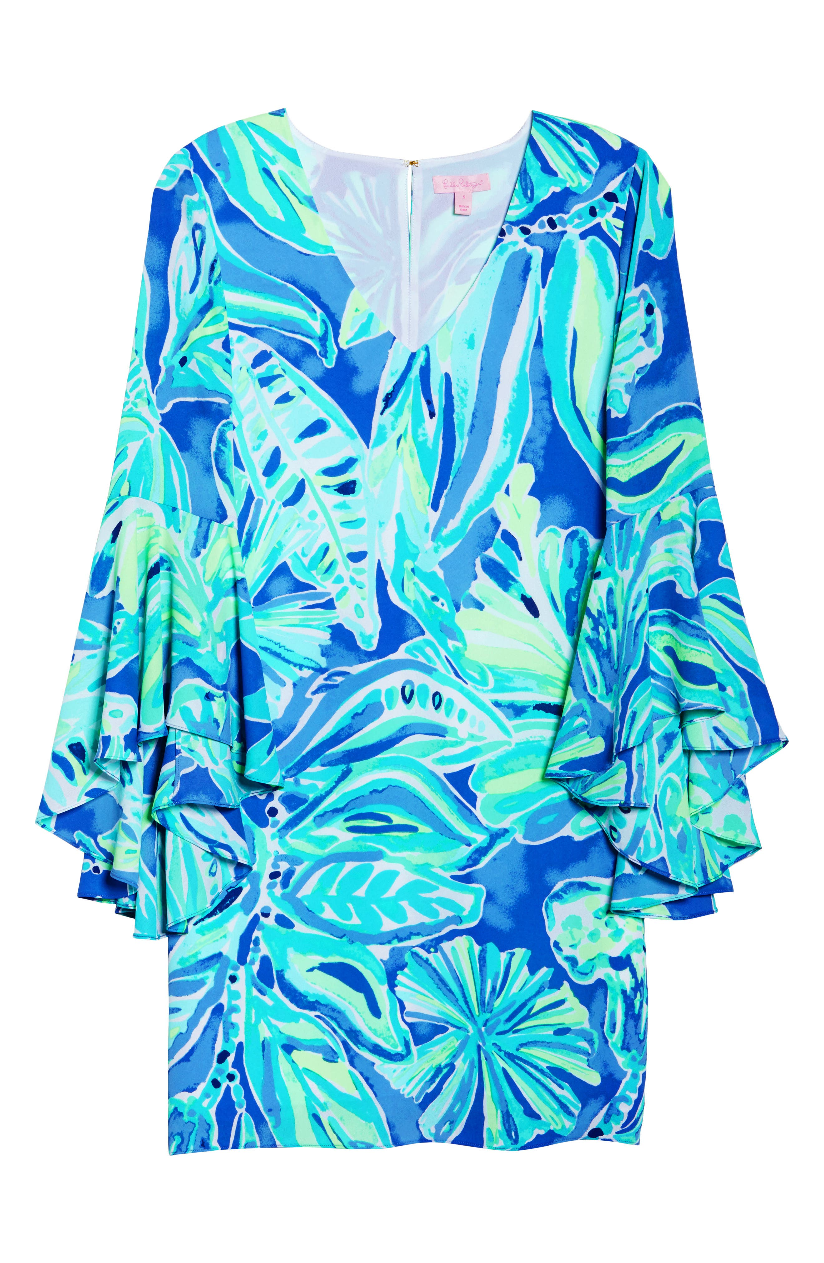 Rosalia Bell Sleeve Shift Dress,                             Alternate thumbnail 6, color,                             Beckon Blue Palm Passage