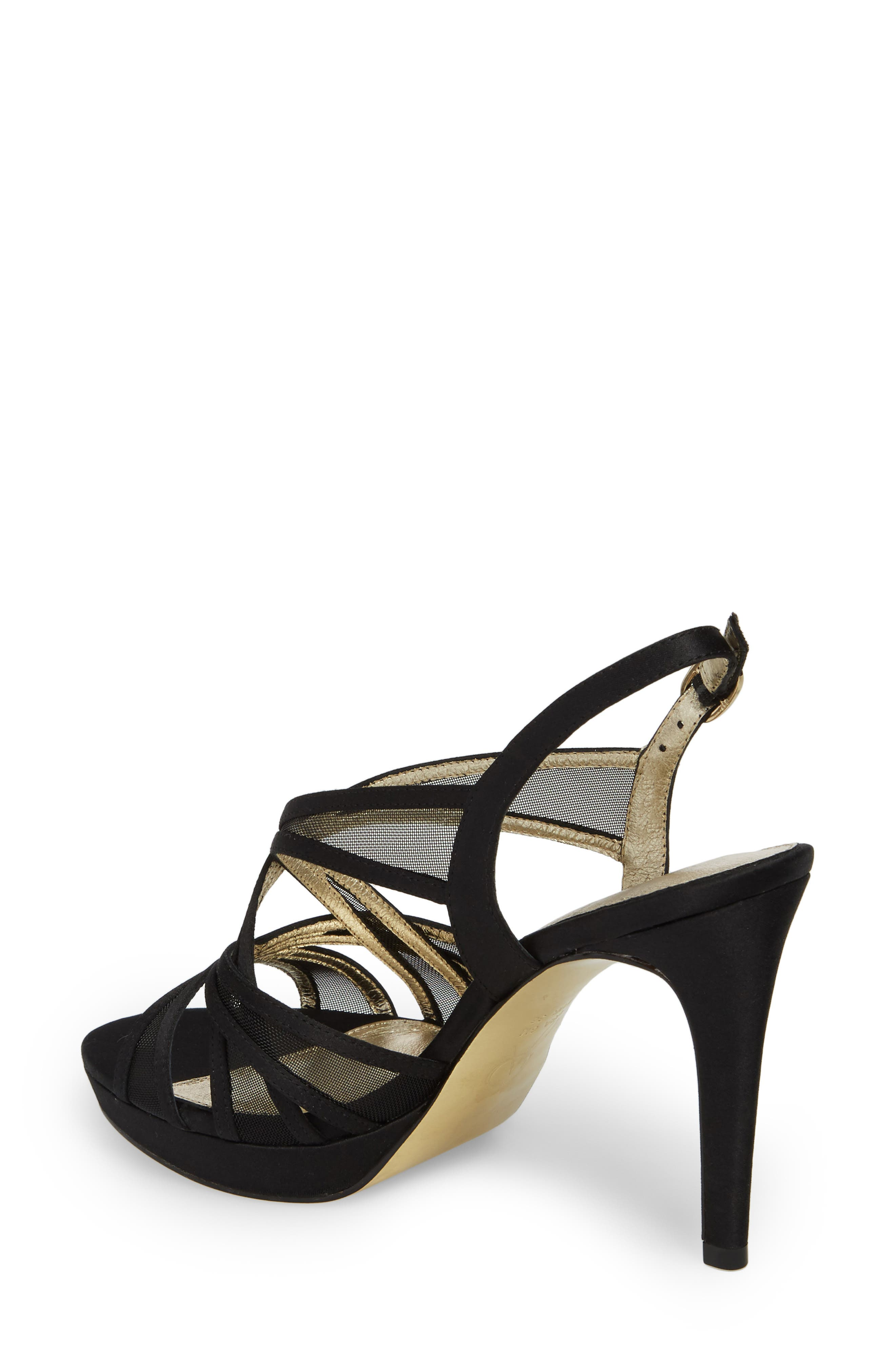 Adri Platform Sandal,                             Alternate thumbnail 2, color,                             Black Satin