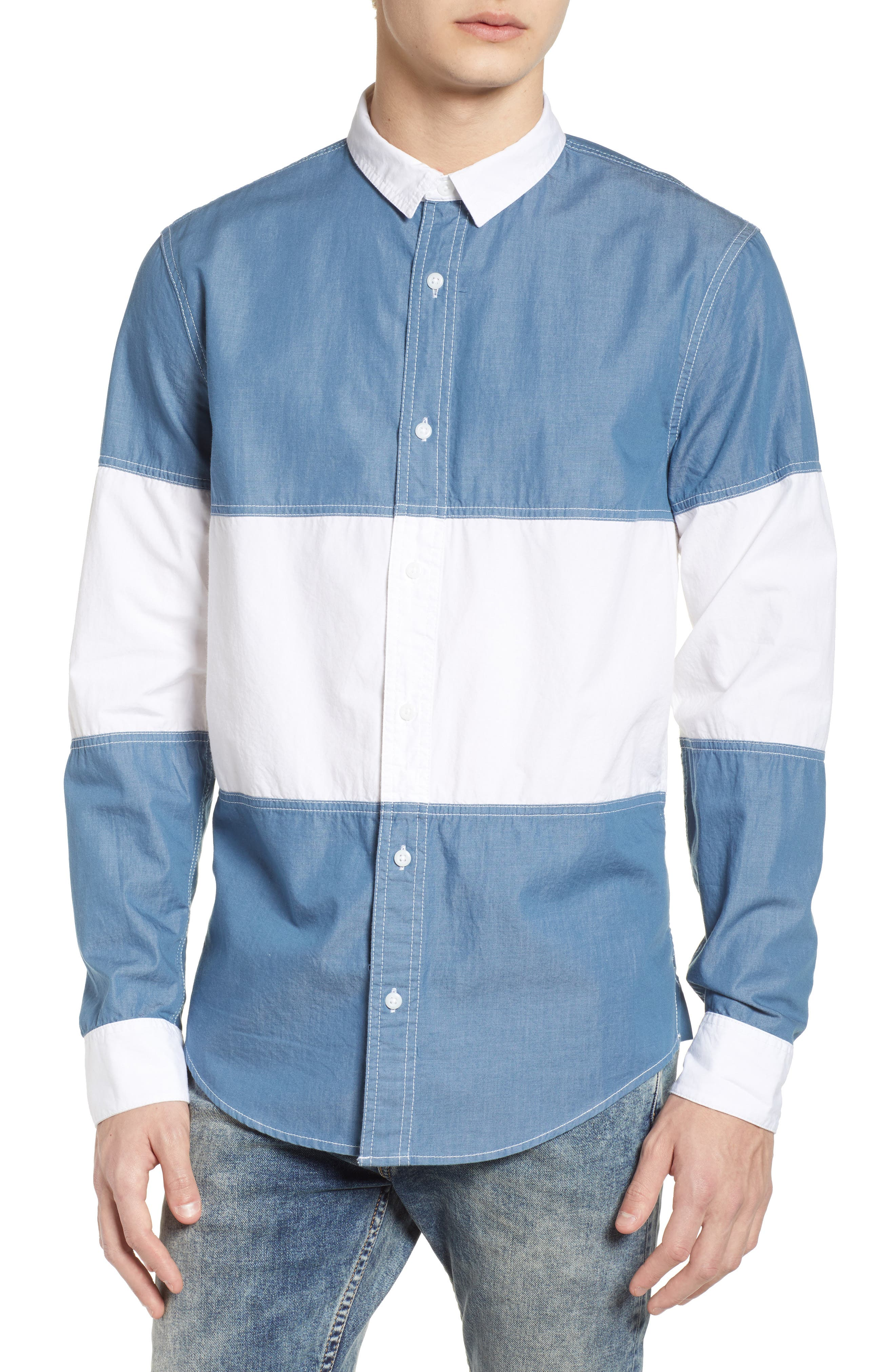 Colorblock Woven Shirt,                         Main,                         color, Chambray White Block