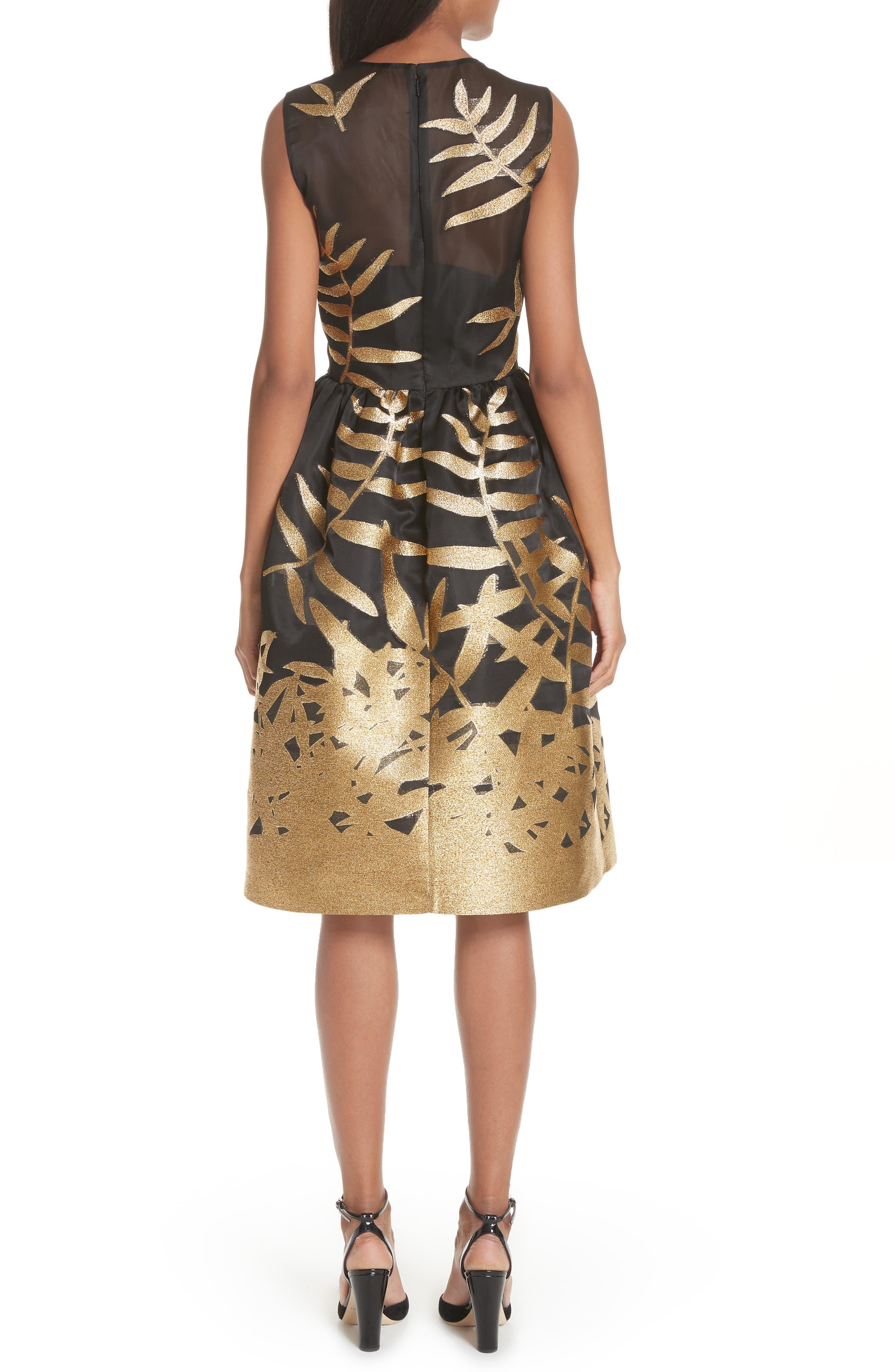 Alternate Image 2  - Oscar de la Renta Glitter Fil Coupé Dress