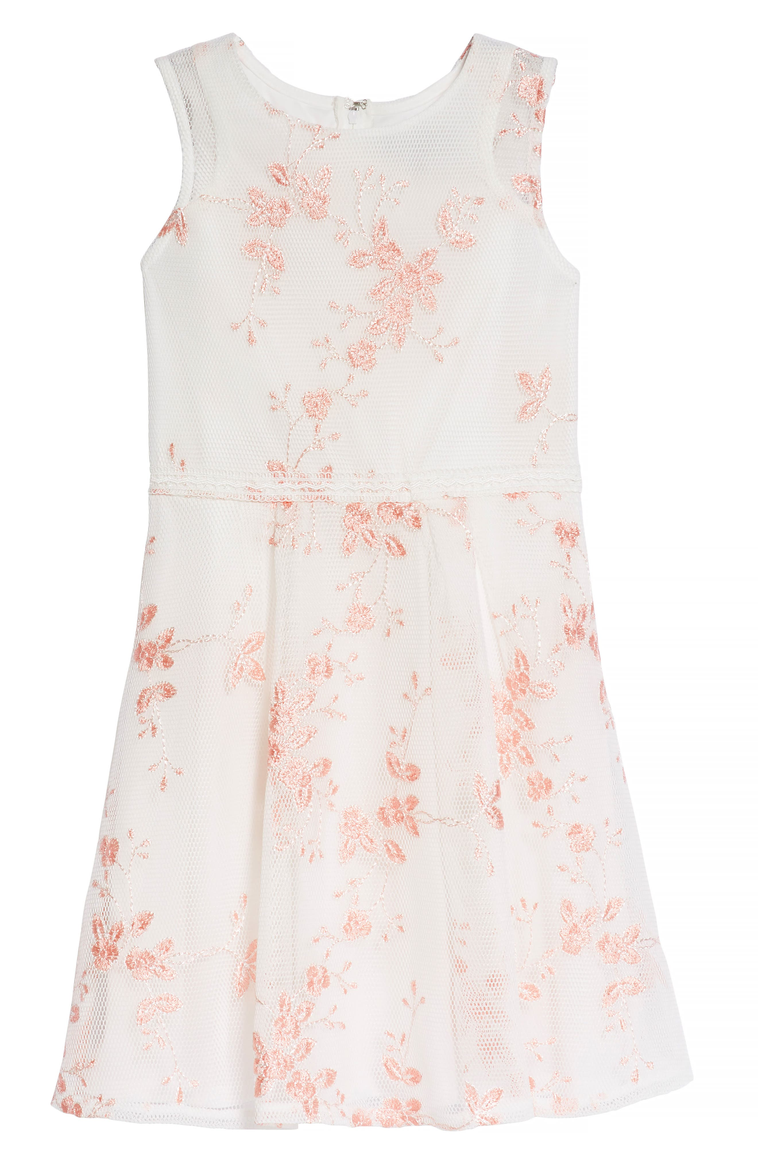 Embroidered Mesh Skater Dress,                         Main,                         color, White/ Coral