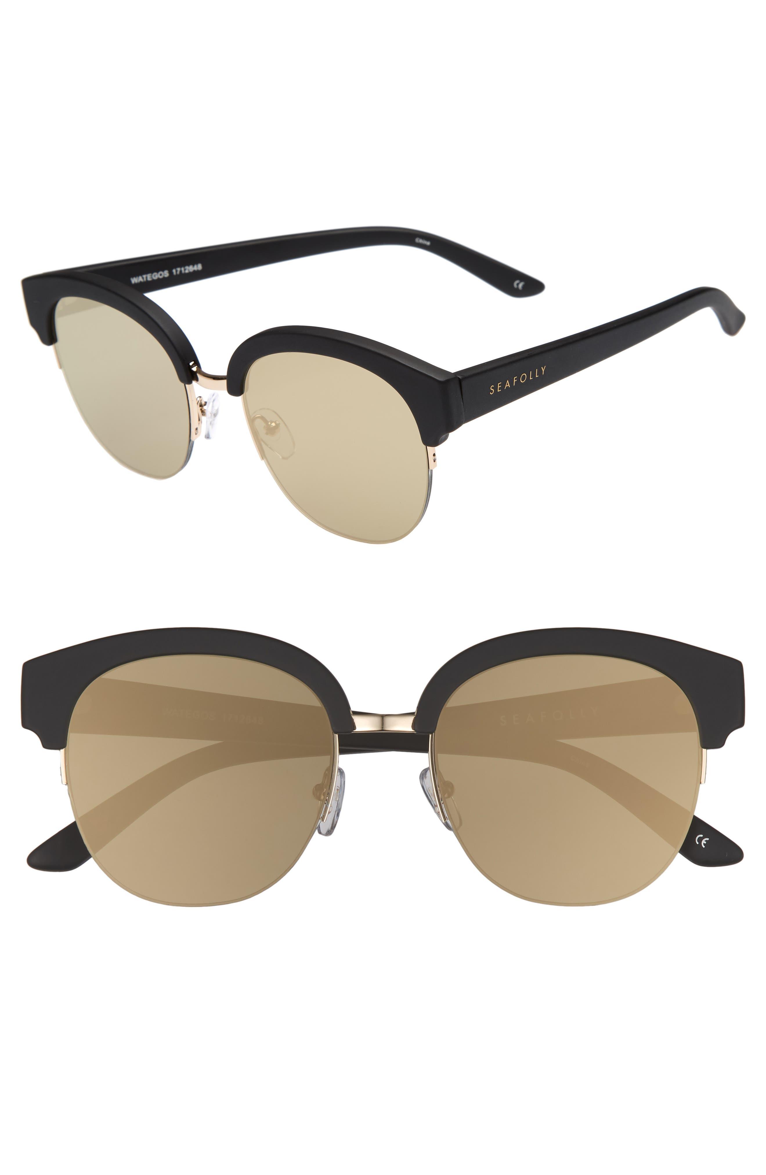 Wategos 53mm Cat Eye Sunglasses,                         Main,                         color, Black