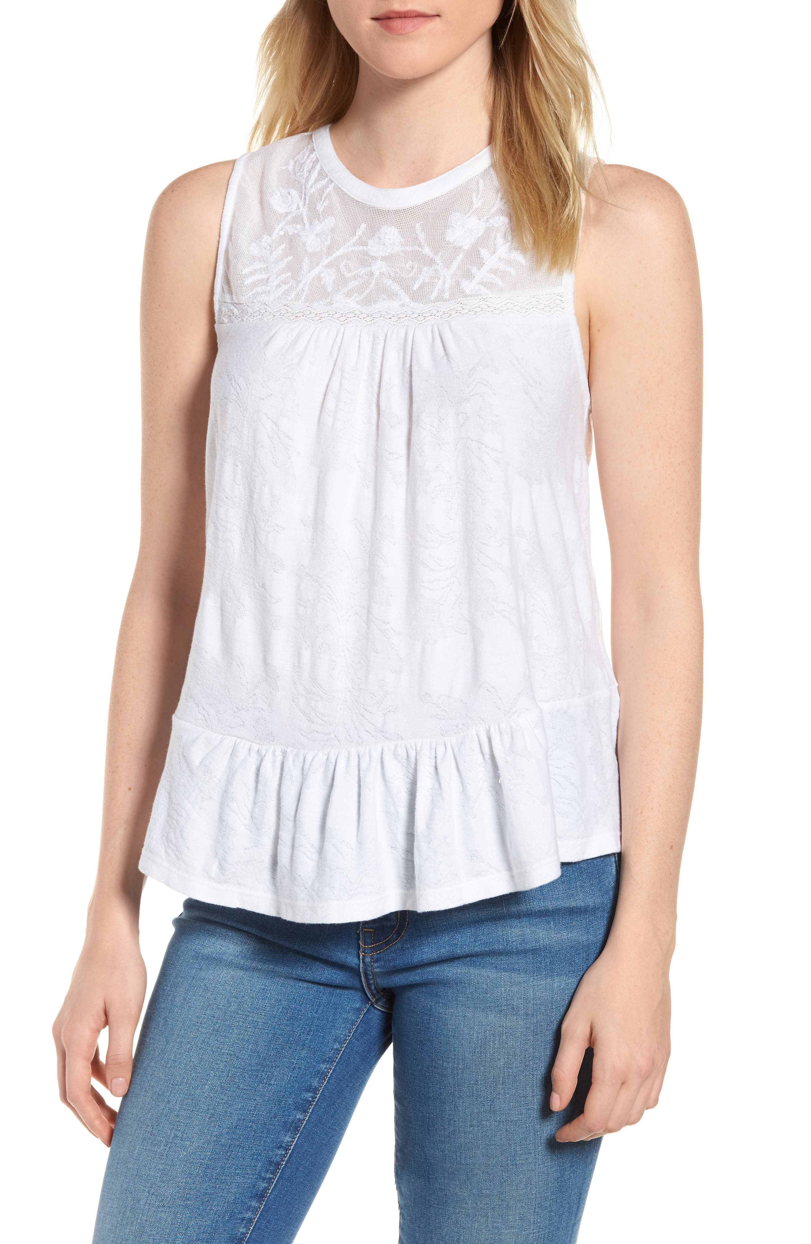 Tiered Jacquard Tank Top,                             Main thumbnail 1, color,                             Lucky White