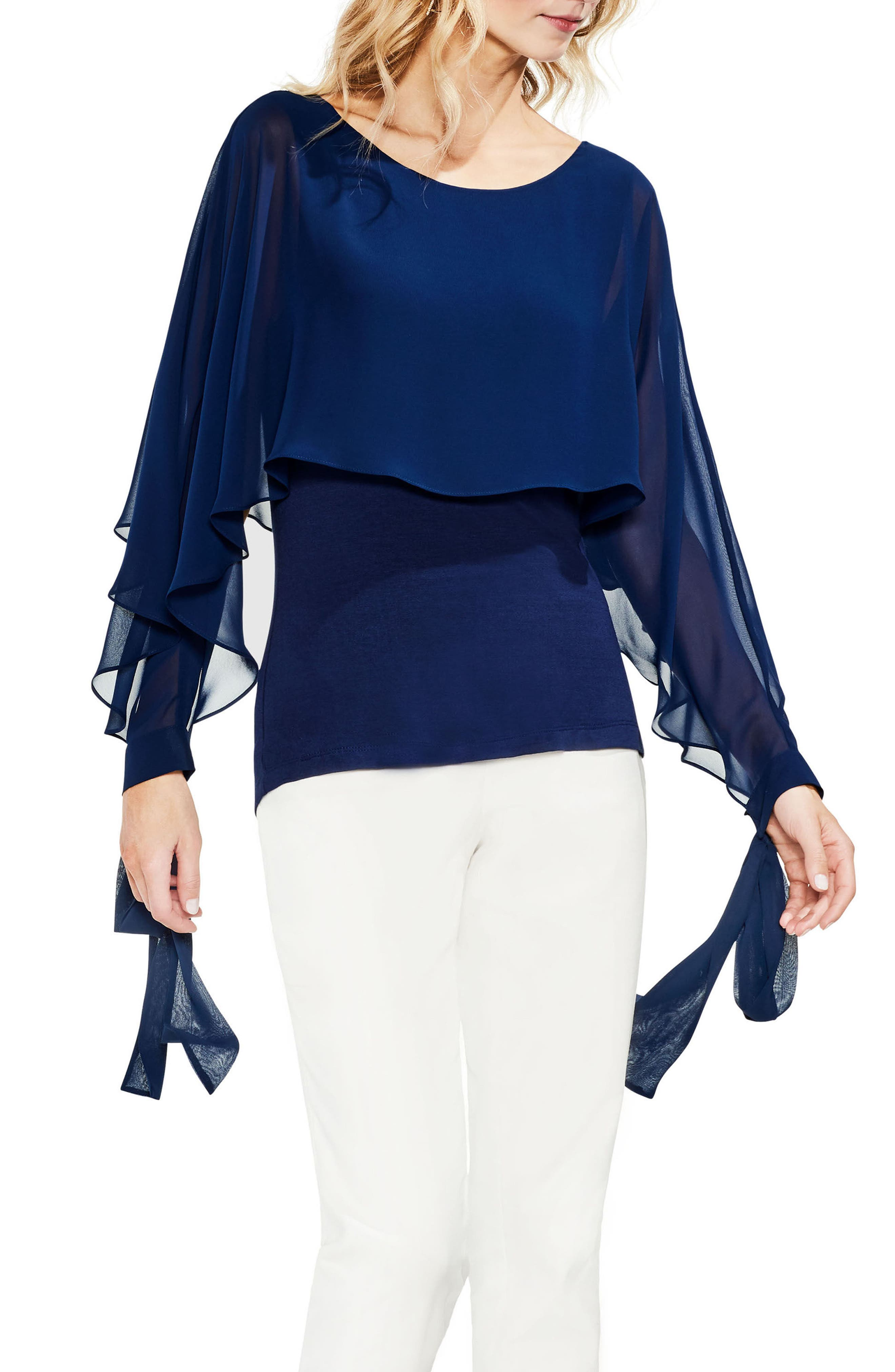 Tie Cuff Chiffon Overlay Blouse,                             Main thumbnail 1, color,                             High Tide