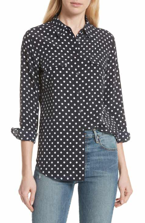 7eba1262261 Equipment Slim Signature Polka Dot Silk Shirt