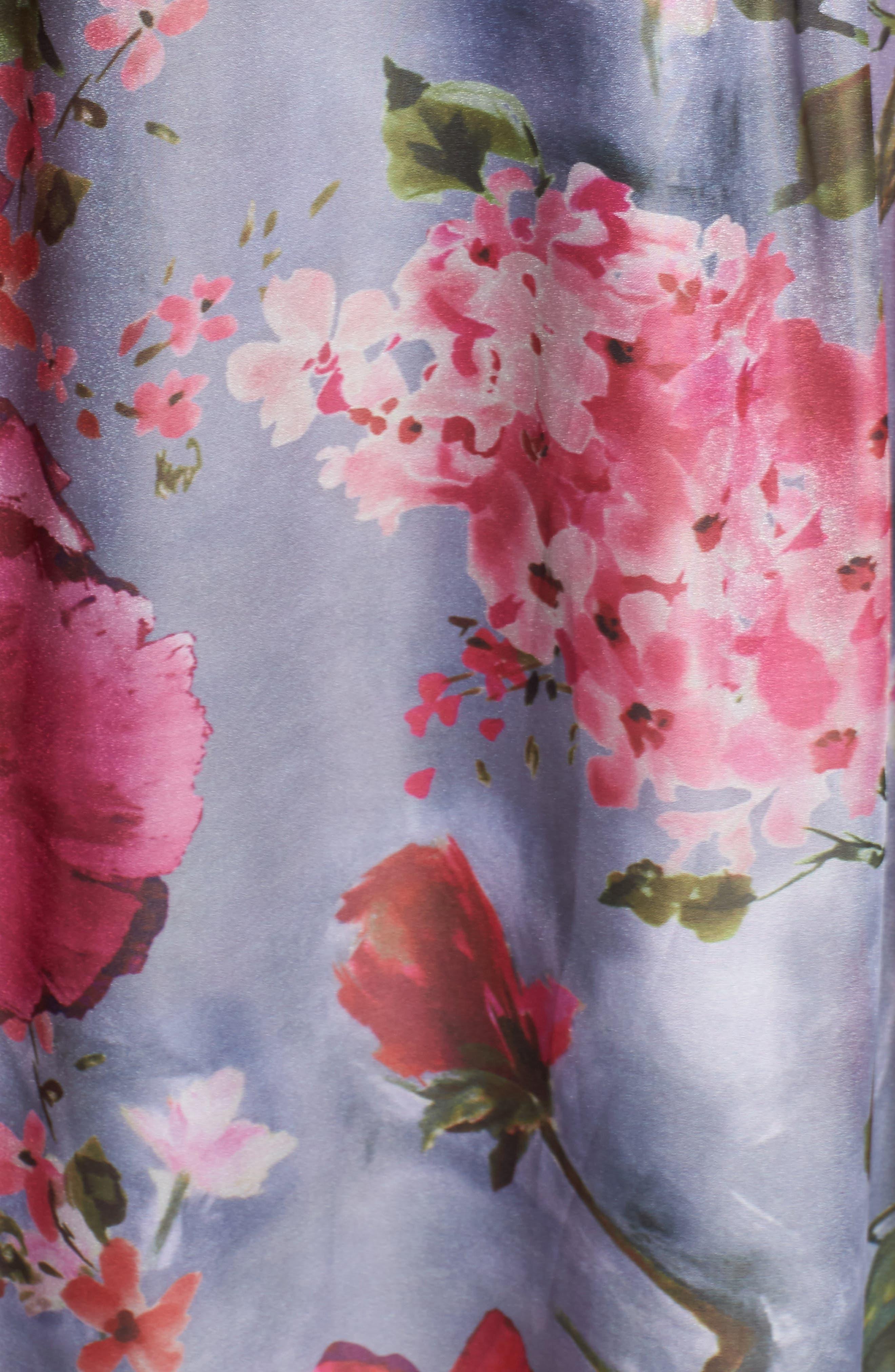 Flower Print Organza Gown,                             Alternate thumbnail 5, color,                             Dove Grey Multi