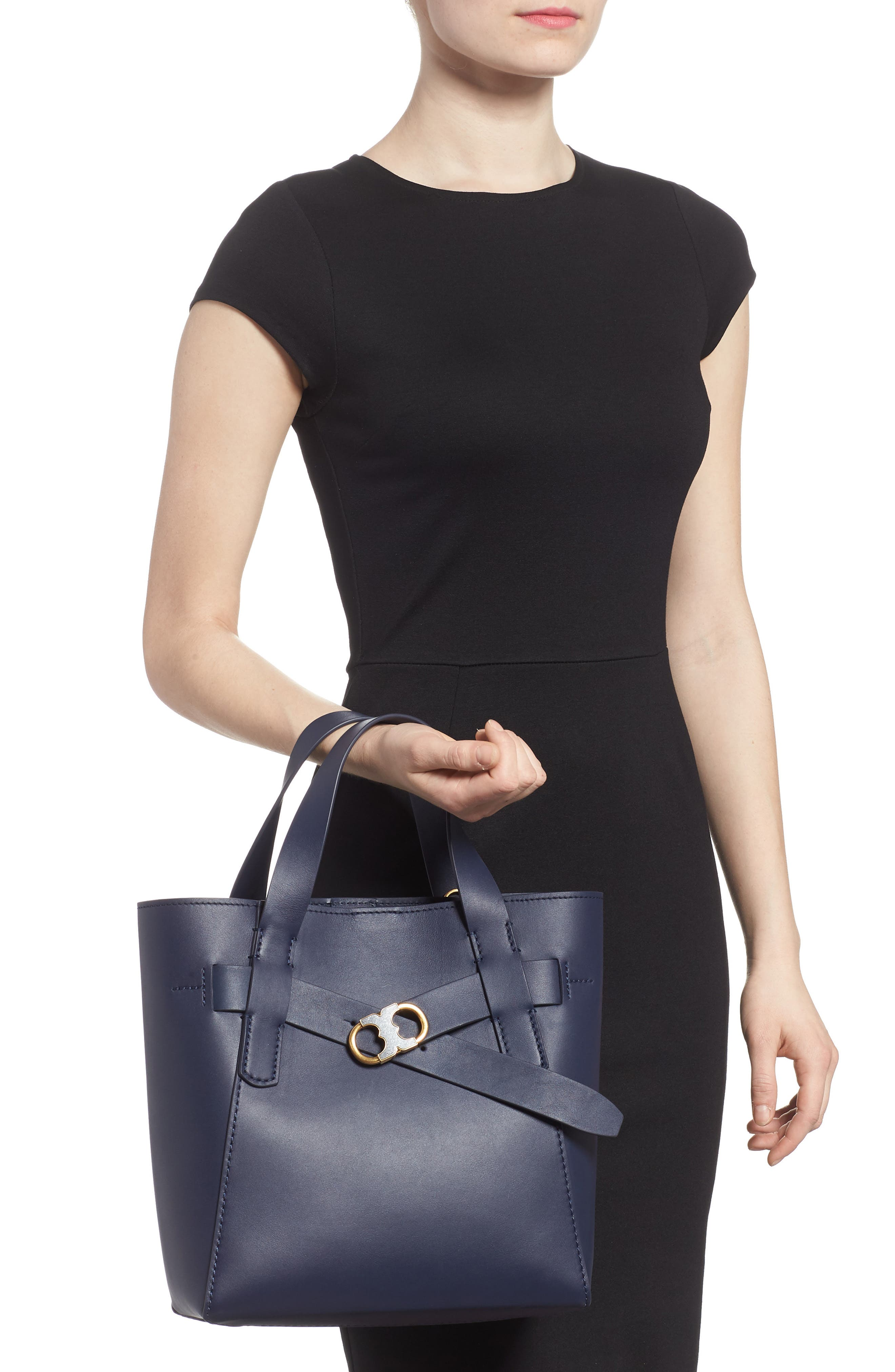 Small Gemini Link Leather Tote,                             Alternate thumbnail 2, color,                             Royal Navy