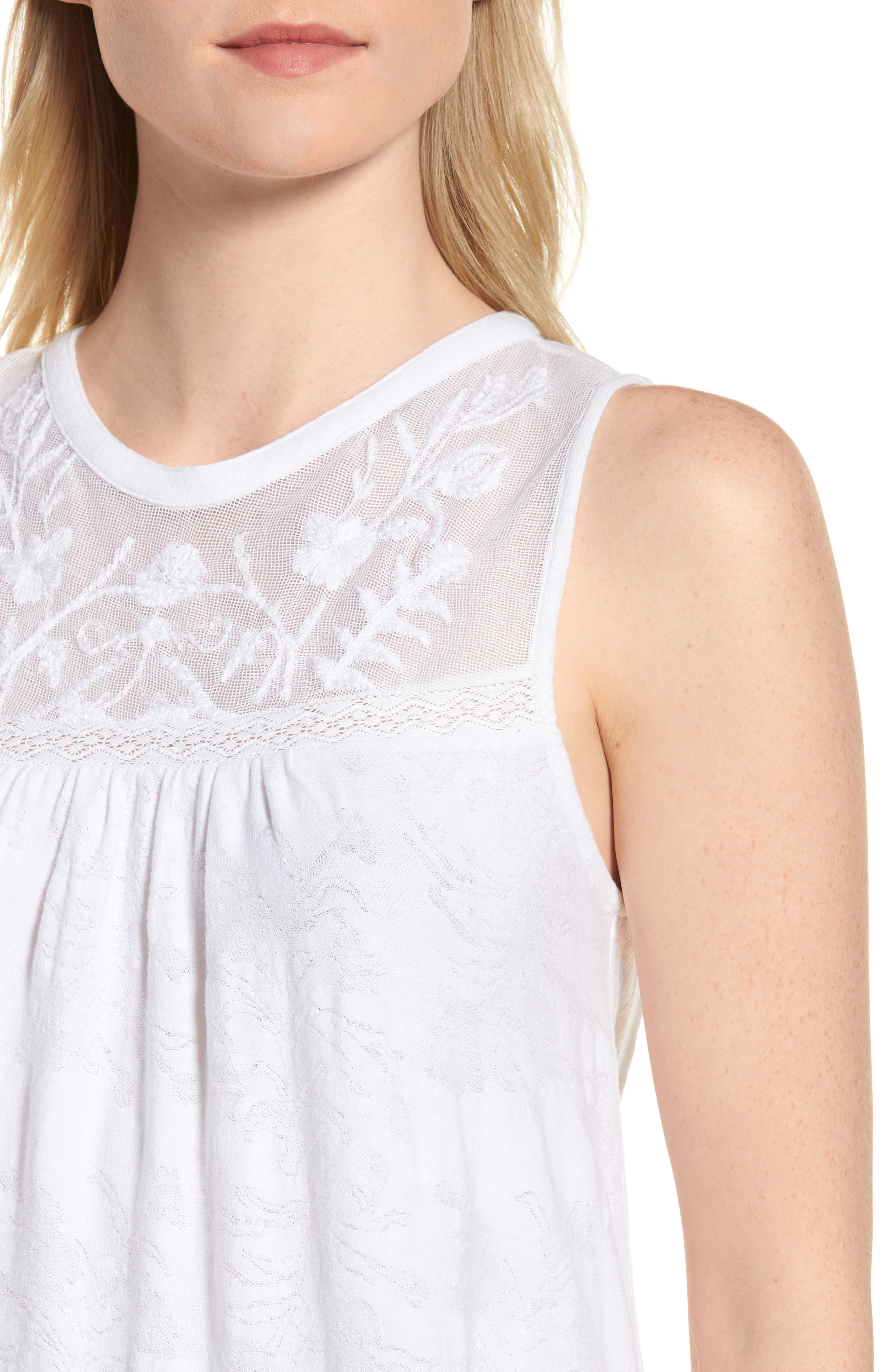 Tiered Jacquard Tank Top,                             Alternate thumbnail 4, color,                             Lucky White