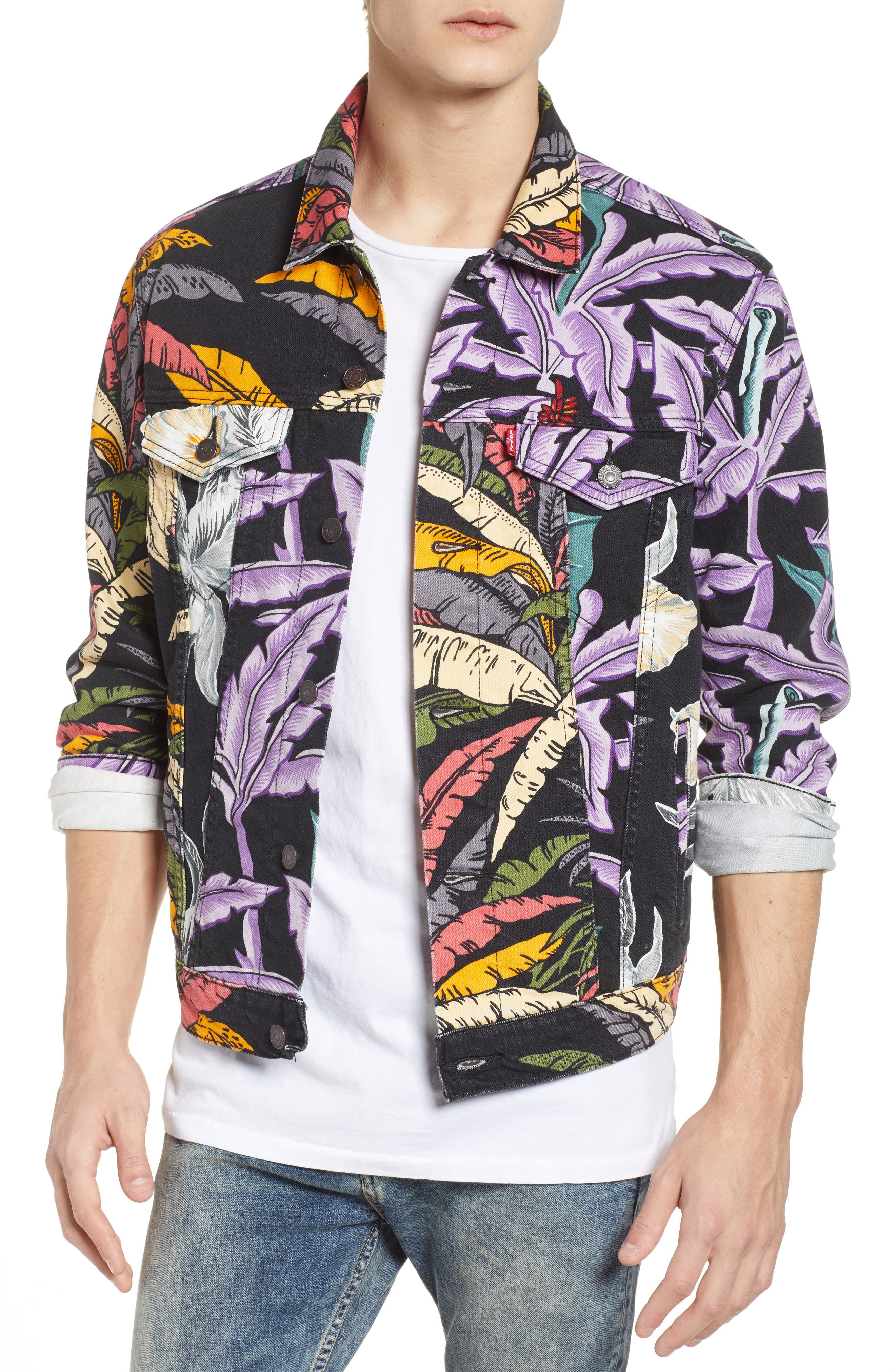 Trucker Denim Jacket,                         Main,                         color, Island Party