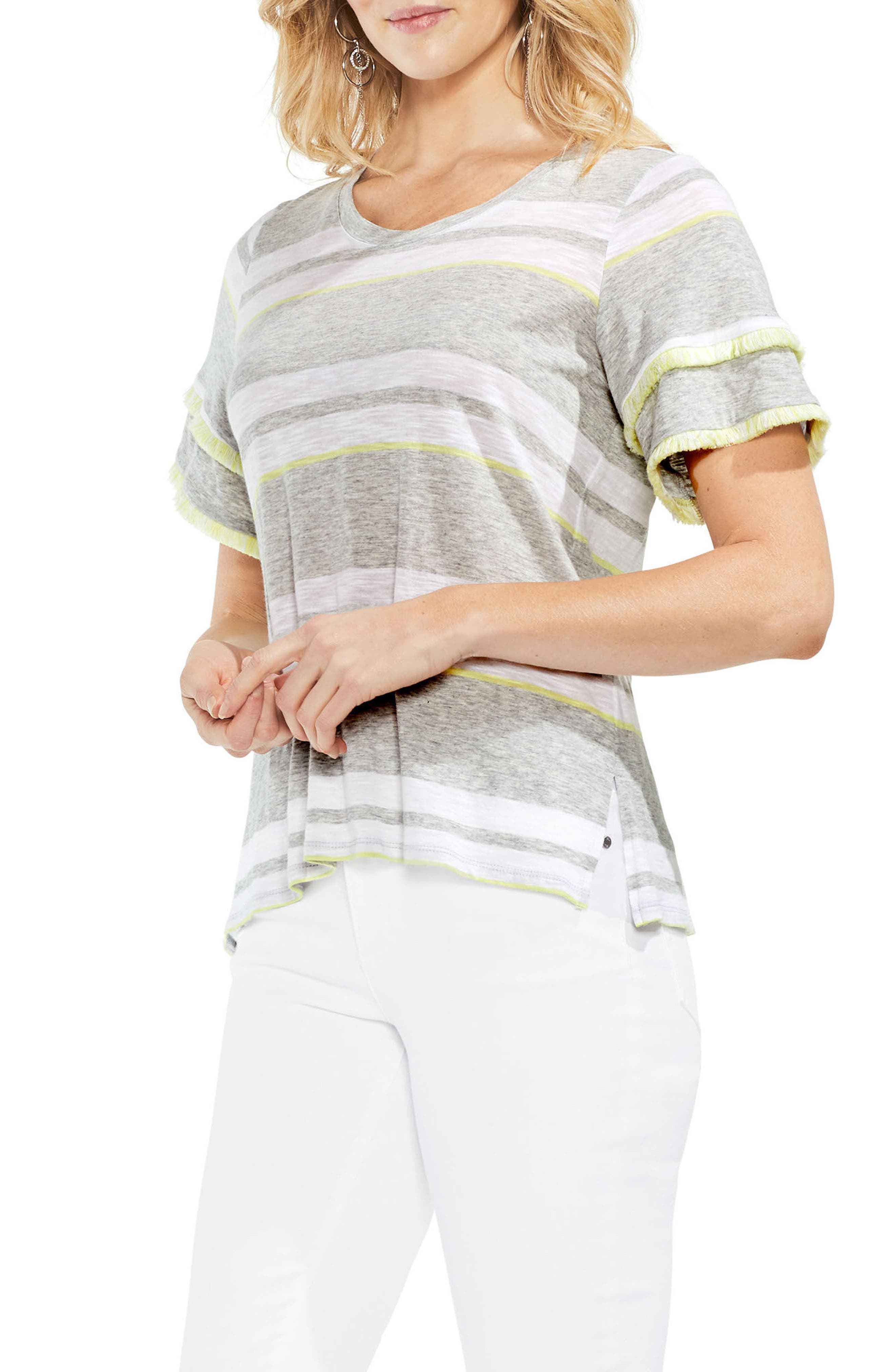 Fringe Sleeve Stadium Stripe Cotton Blend Top,                             Main thumbnail 1, color,                             Grey Heather