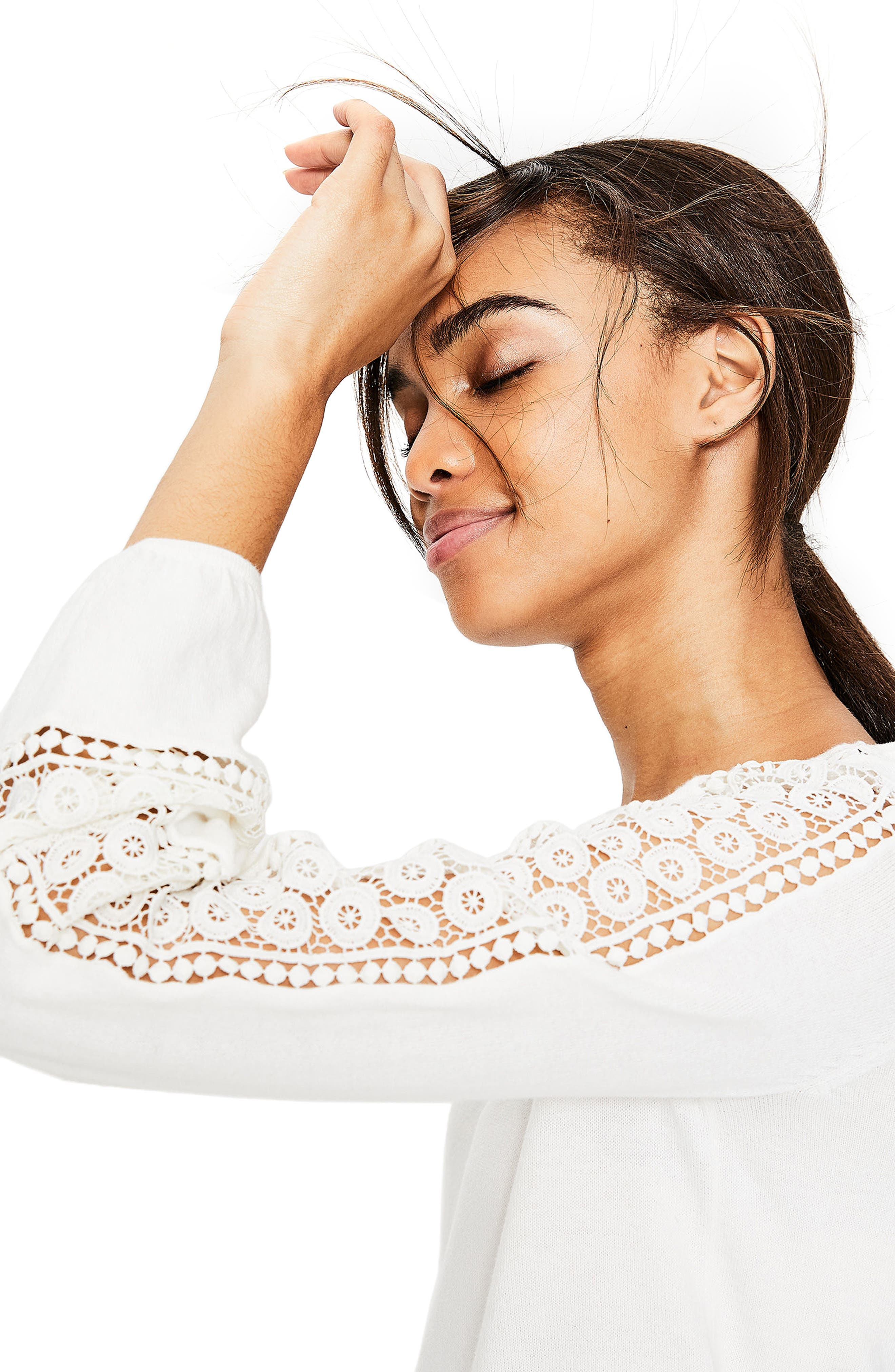 Lace Inset Cotton Sweater,                             Alternate thumbnail 6, color,                             Ivory