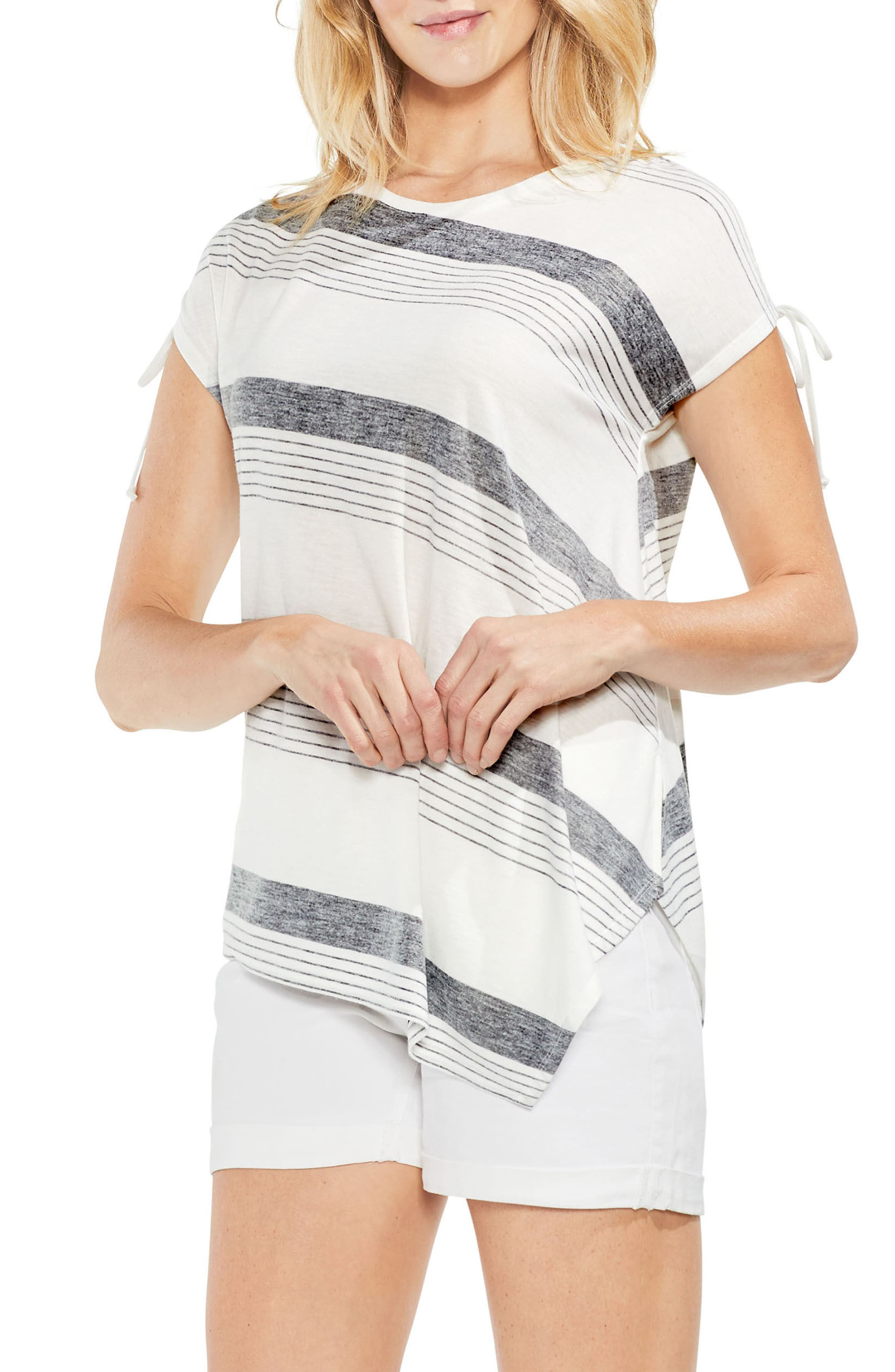 Stripe Asymmetrical Top,                         Main,                         color, Rich Black