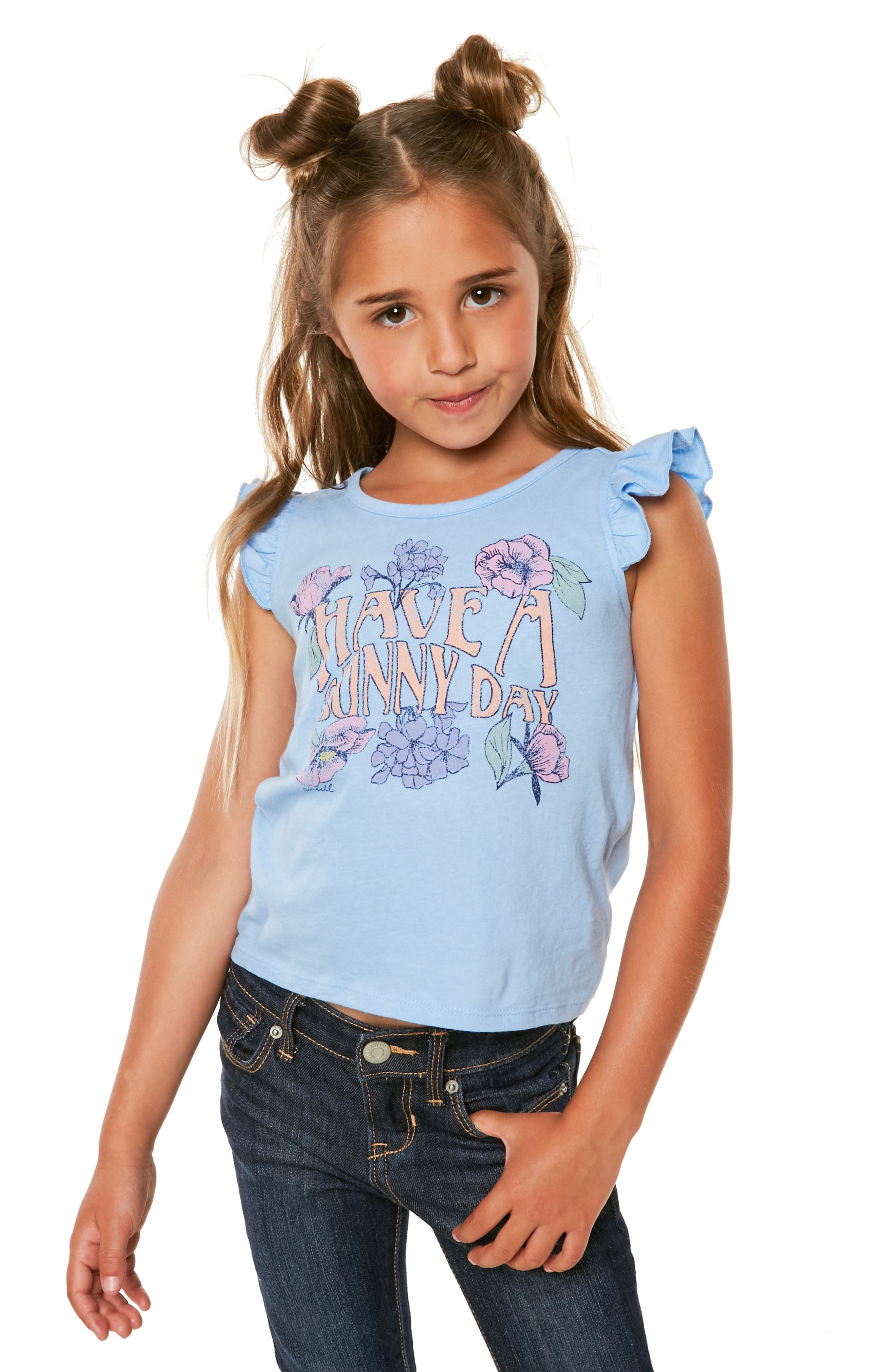 Sunday Ruffle Graphic Tank,                             Alternate thumbnail 3, color,                             Bleached Denim- Ctb