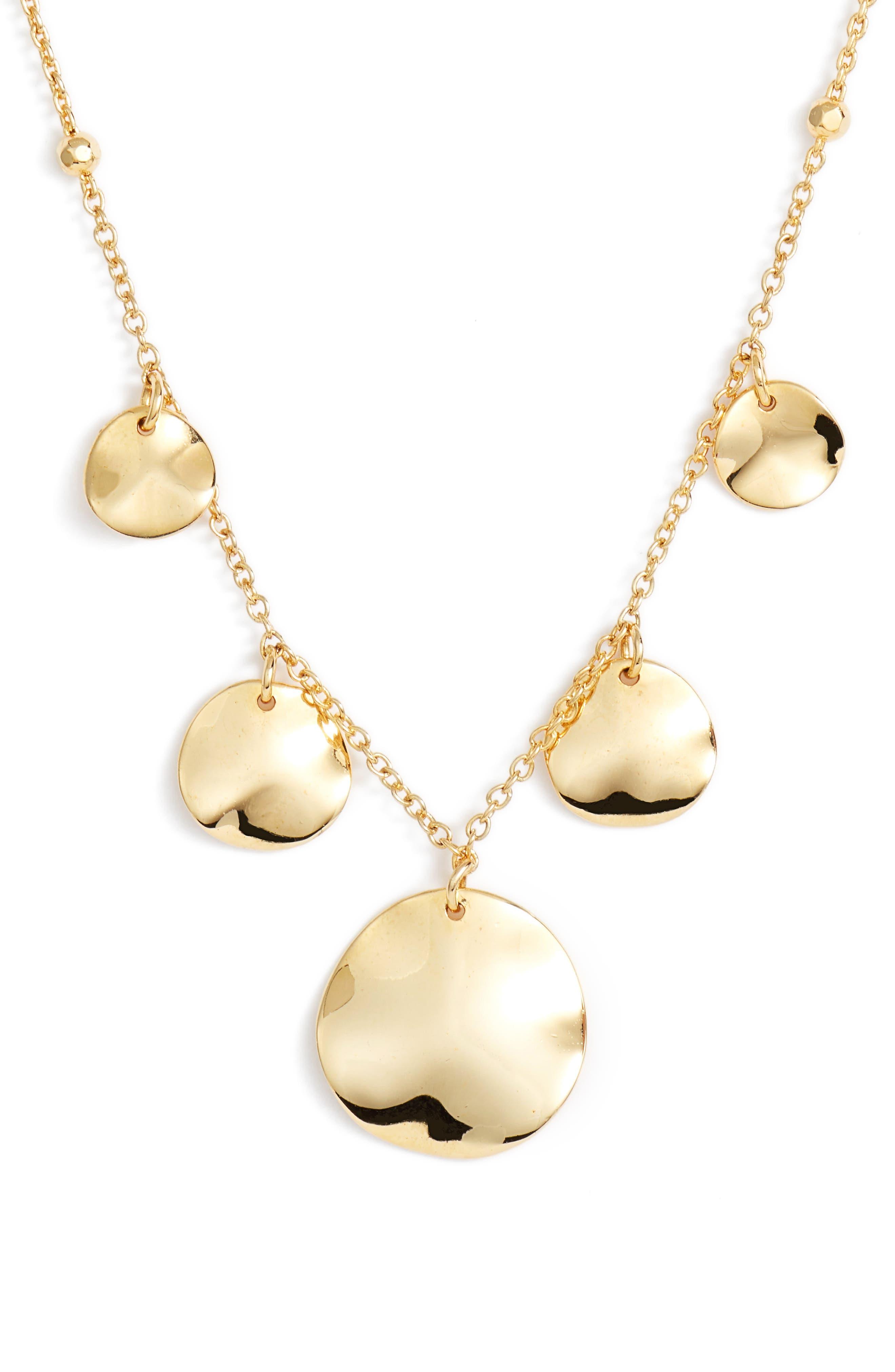 Flat Disc Drop Necklace,                             Main thumbnail 1, color,                             Gold