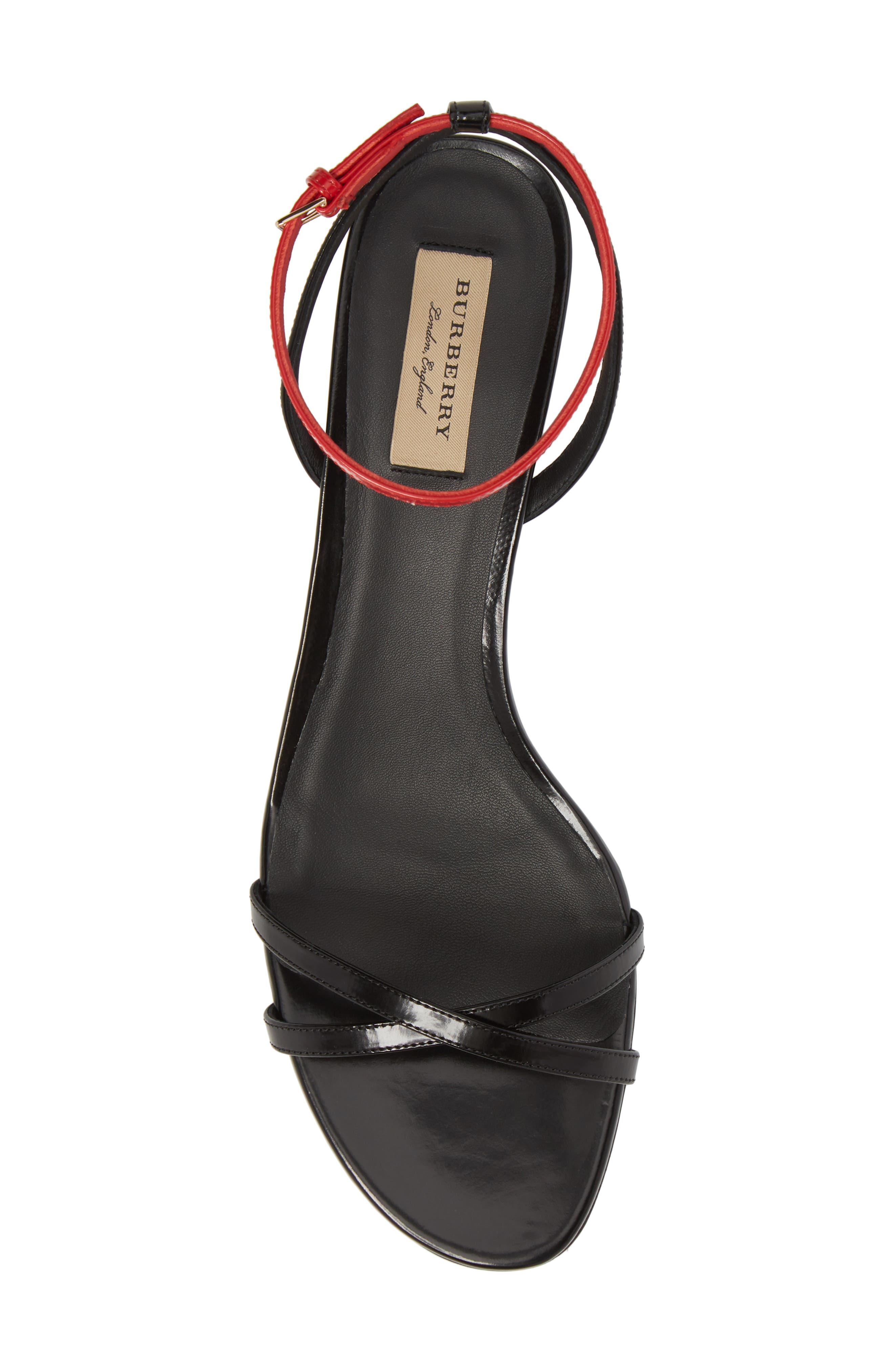 Anthea Check Ankle Strap Sandal,                             Alternate thumbnail 5, color,                             Black