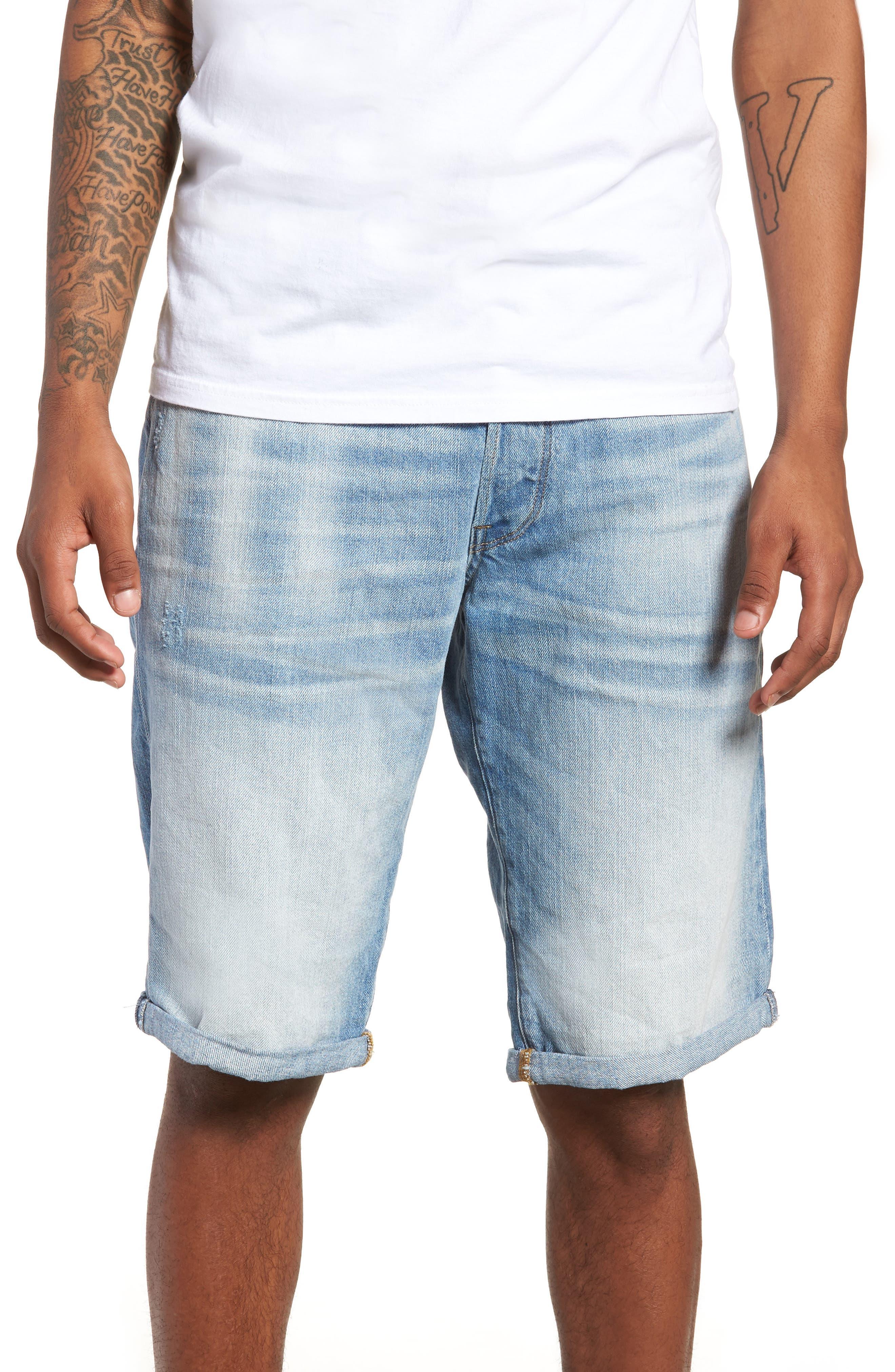 Slim Fit Denim Shorts,                             Main thumbnail 1, color,                             Light Aged