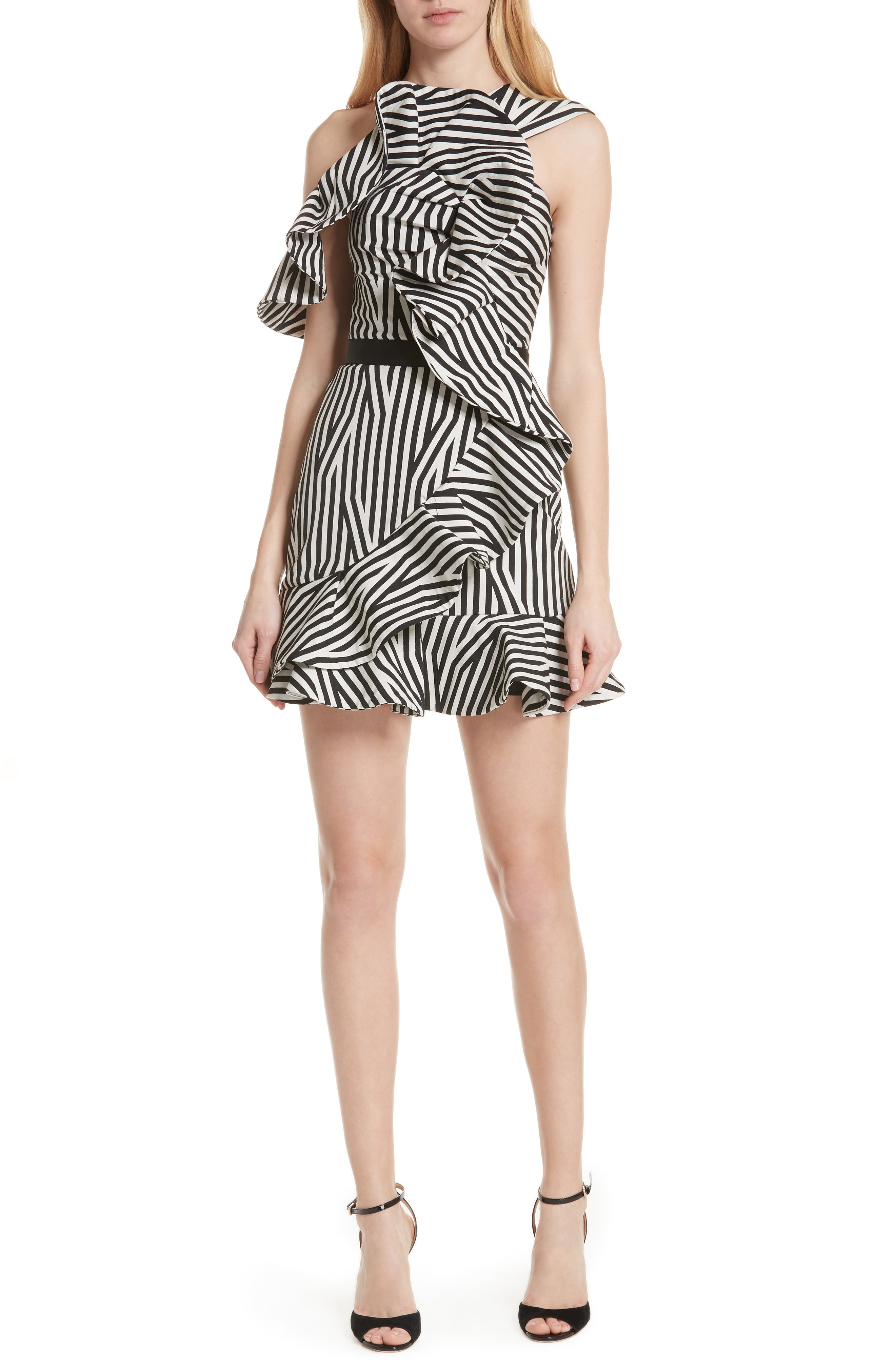 Abstract Stripe Asymmetrical Dress,                         Main,                         color, Black/ White
