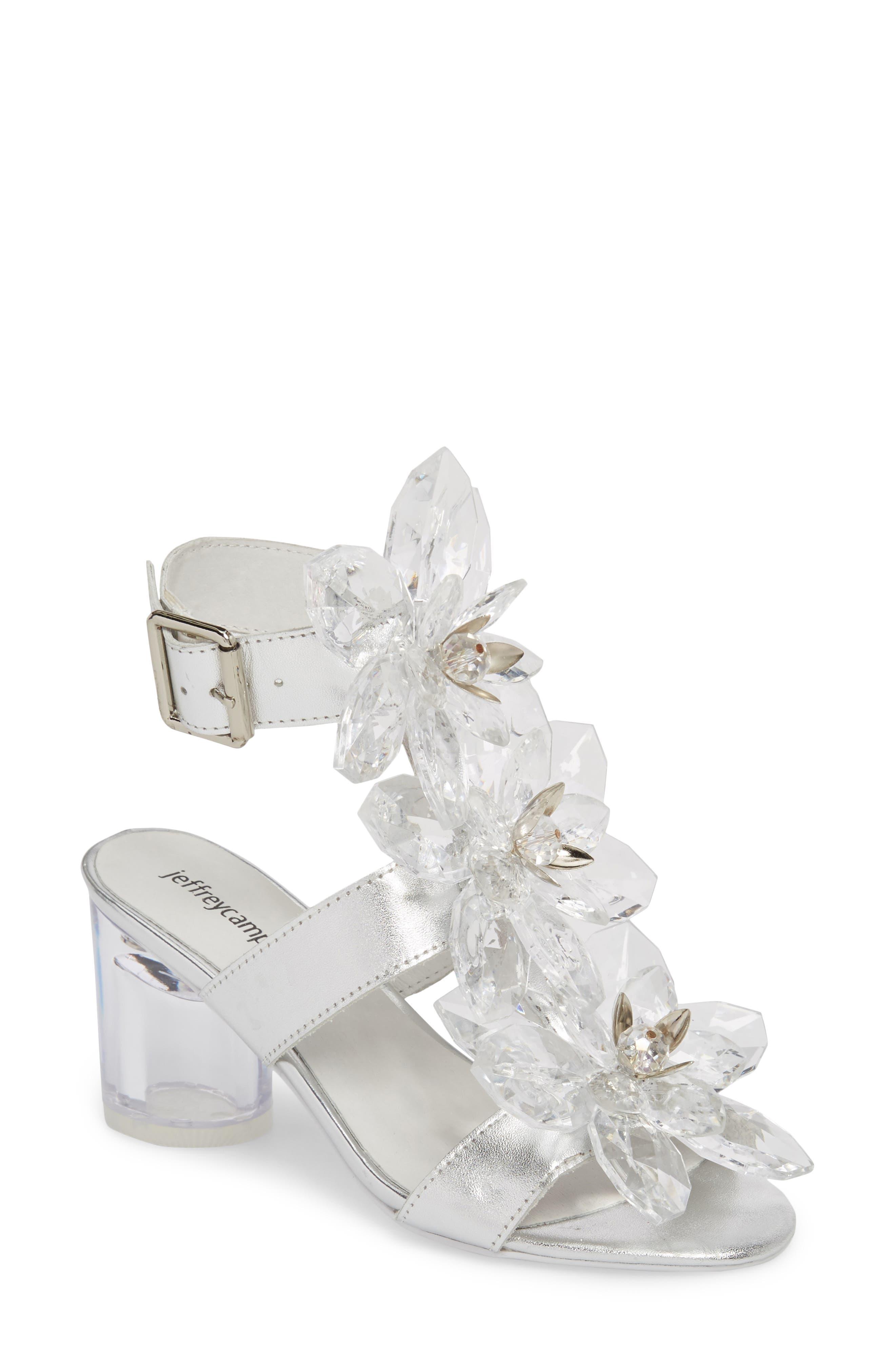 Violit Embellished Floral Sandal,                             Main thumbnail 1, color,                             Silver Clear