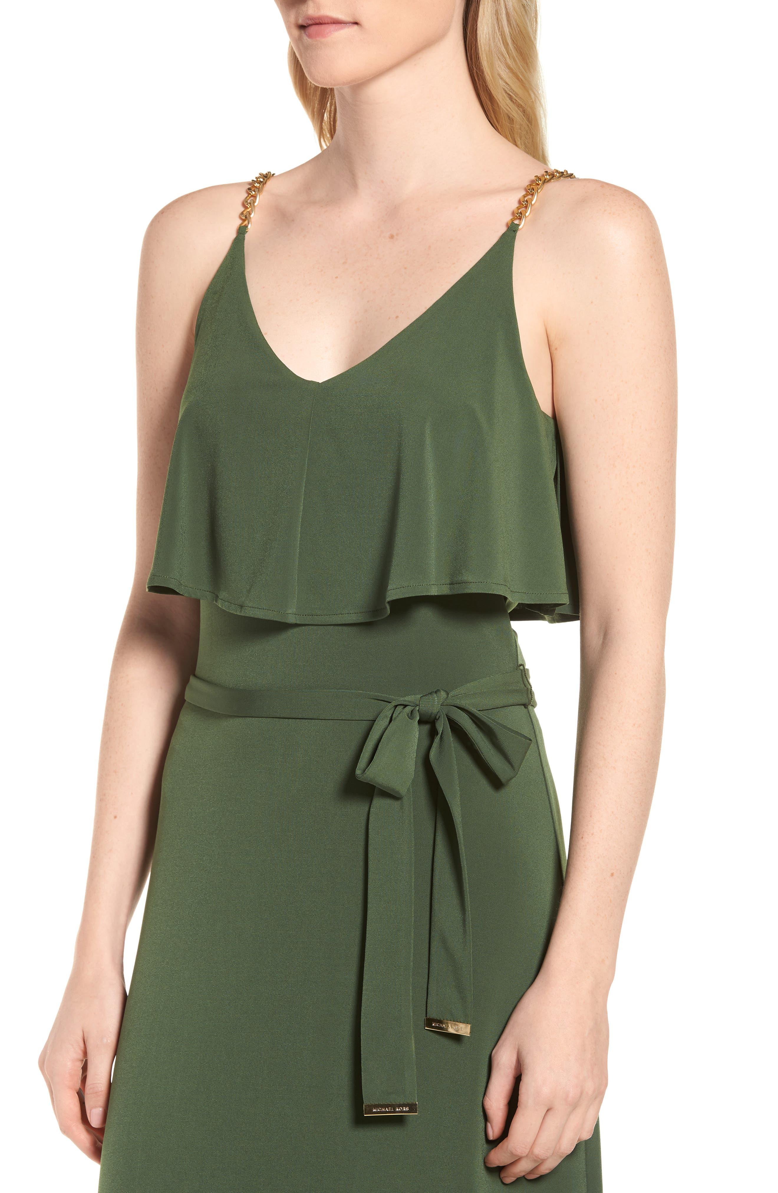 Chain Strap Popover Maxi Dress,                             Alternate thumbnail 4, color,                             Jade