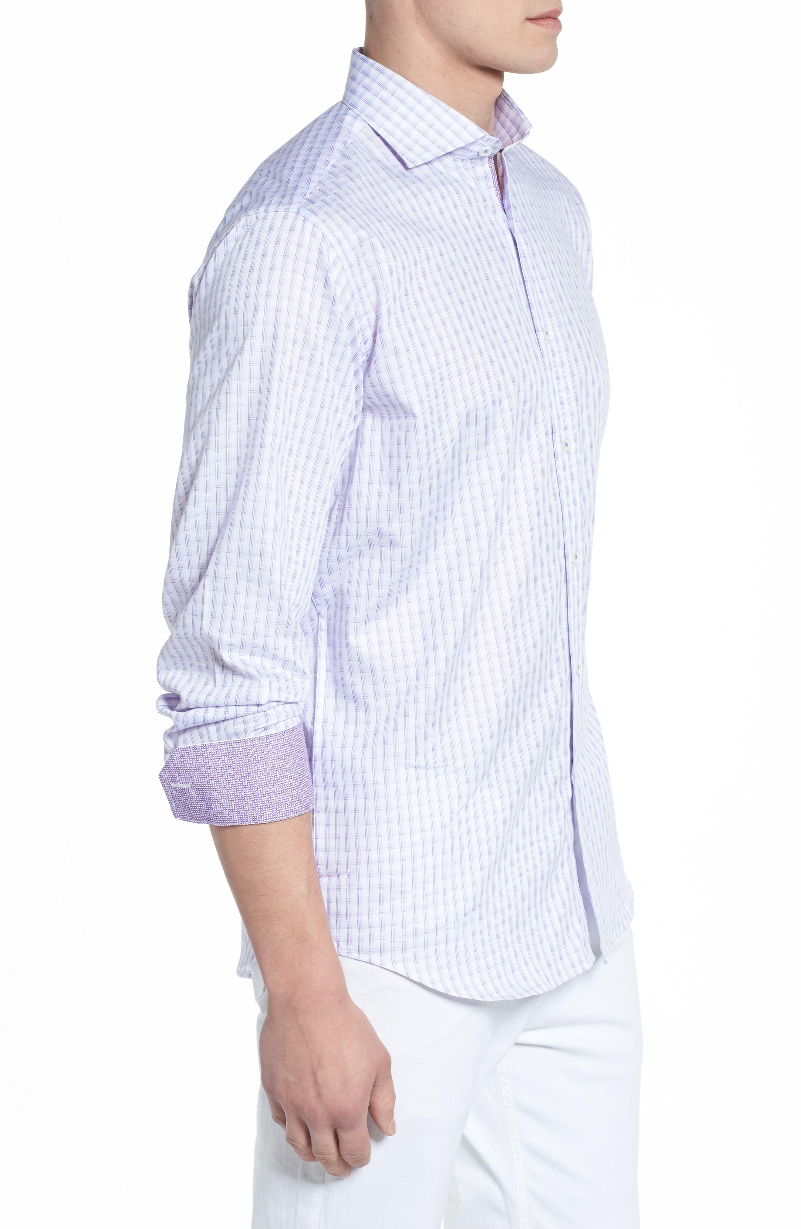 Modern Check Classic Fit Sport Shirt,                             Alternate thumbnail 3, color,                             Lilac