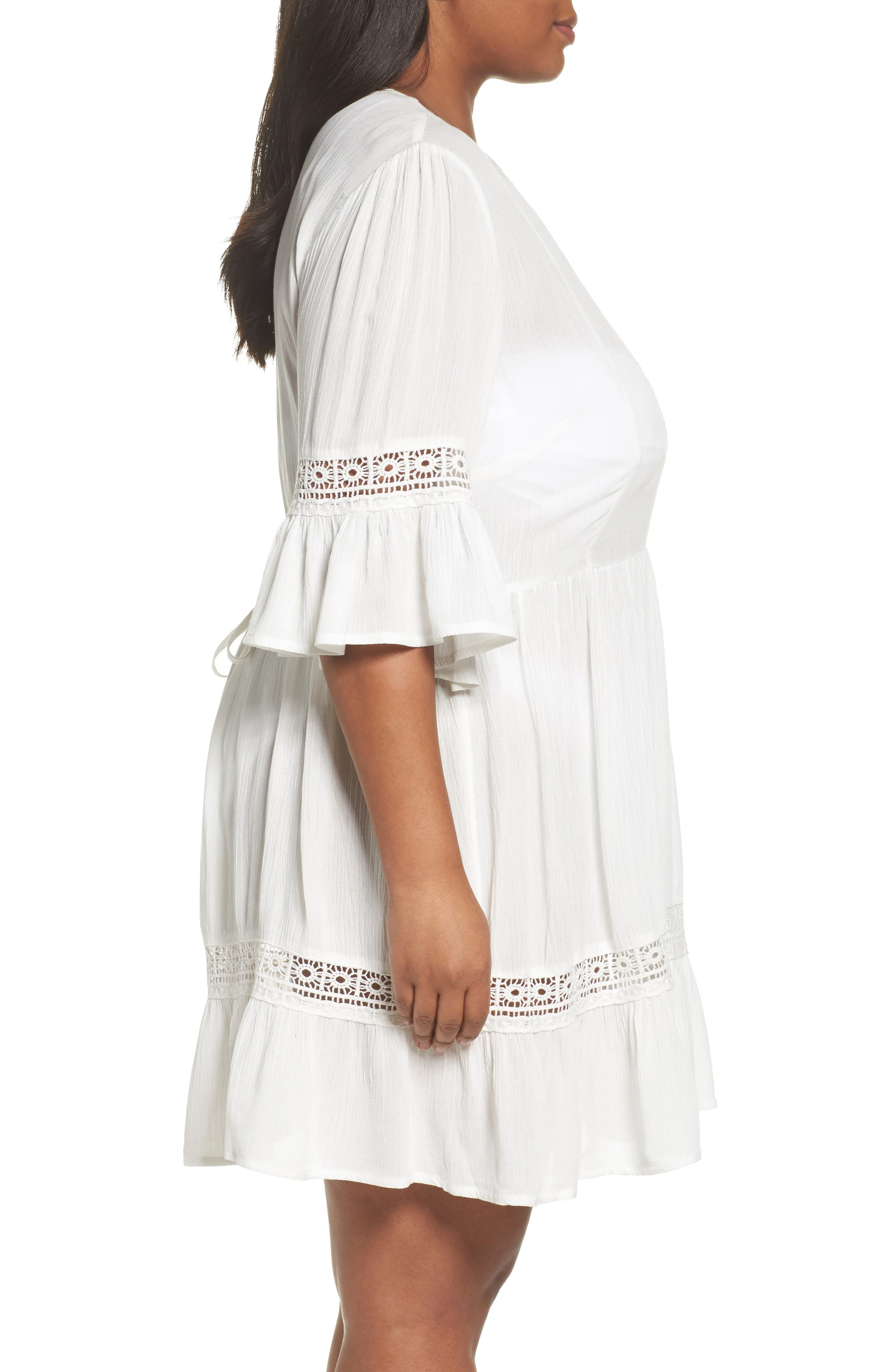 Embroidered Bell Sleeve Fit & Flare Dress,                             Alternate thumbnail 3, color,                             Ivory