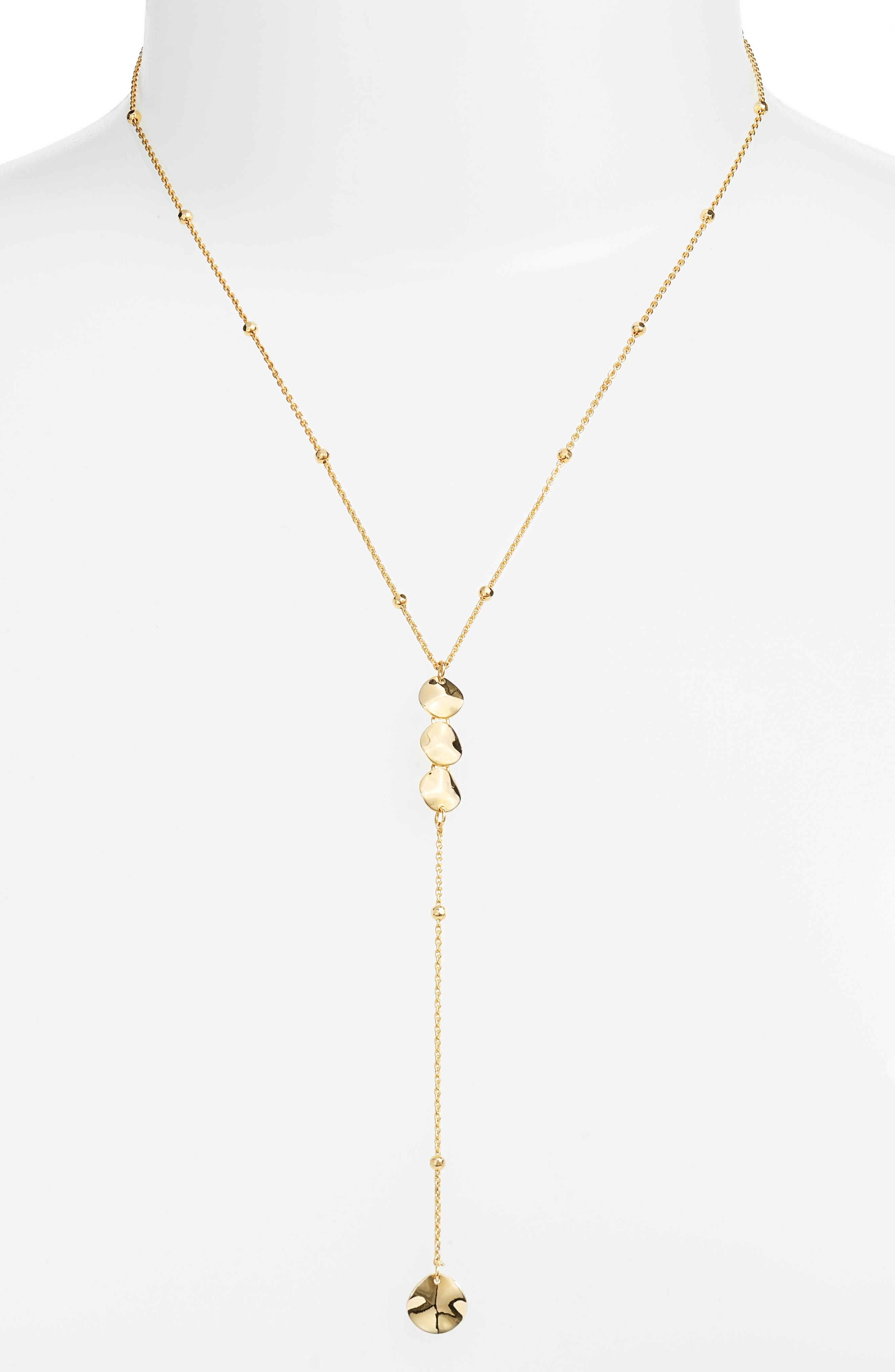 Flat Disc Y-Necklace,                         Main,                         color, Gold