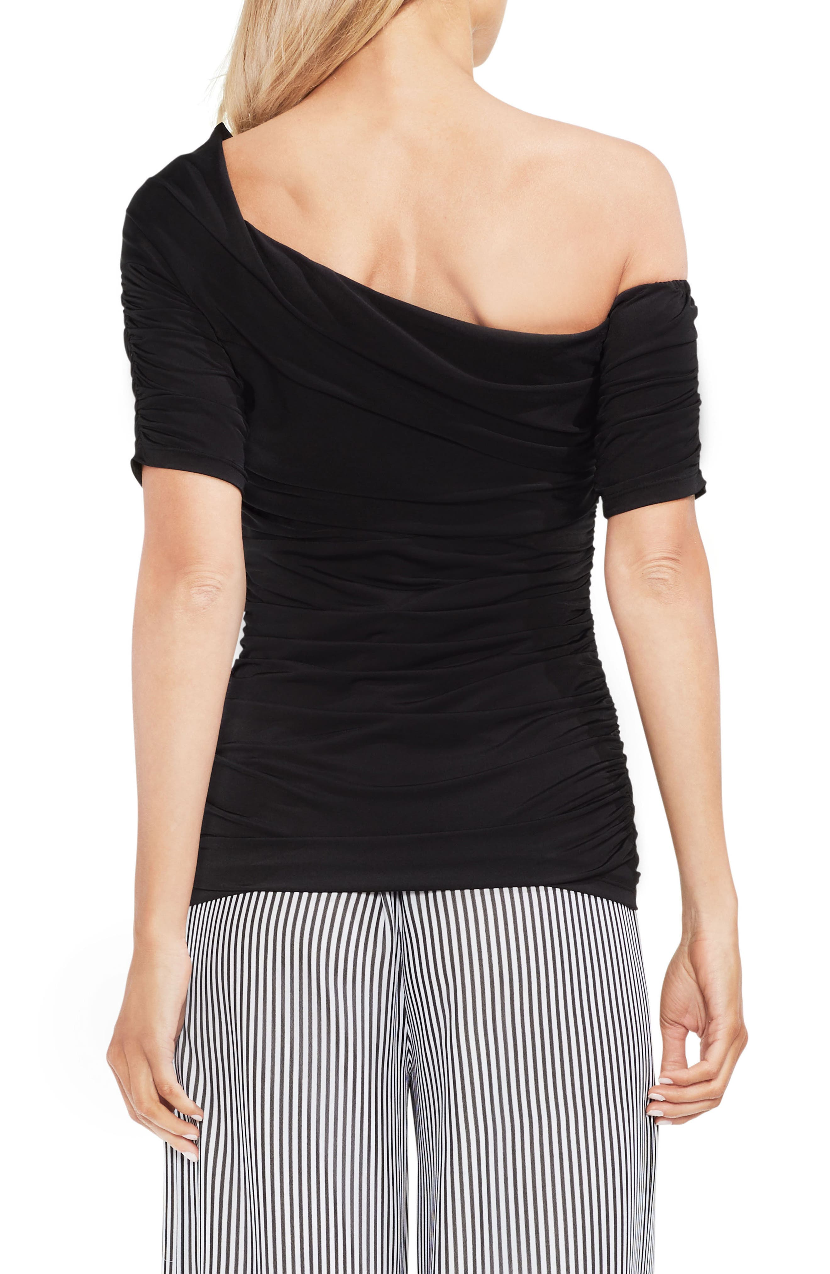 One Shoulder Ruched Top,                             Alternate thumbnail 2, color,                             Rich Black