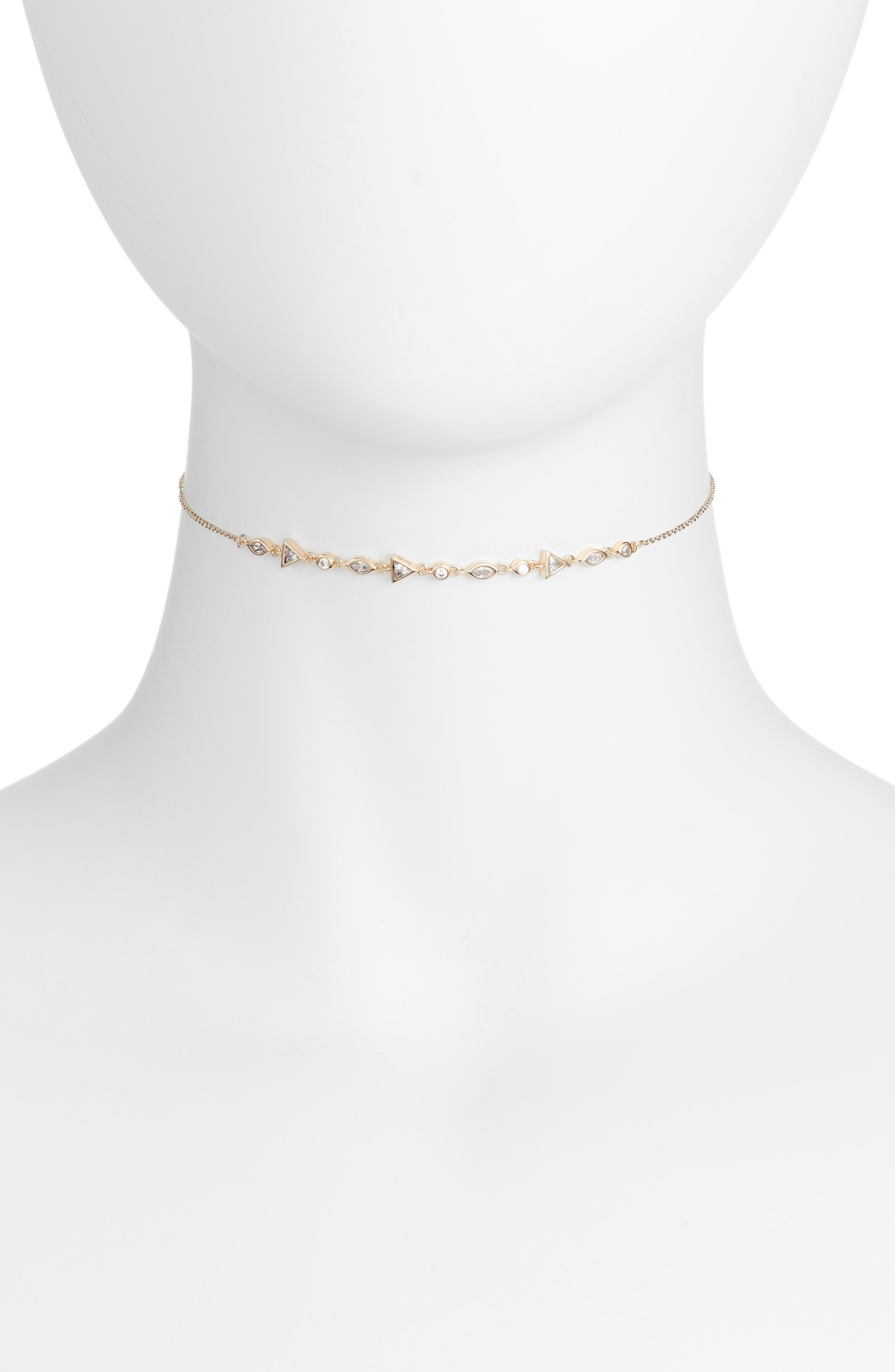 Zio Geo Choker Necklace,                         Main,                         color, Gold