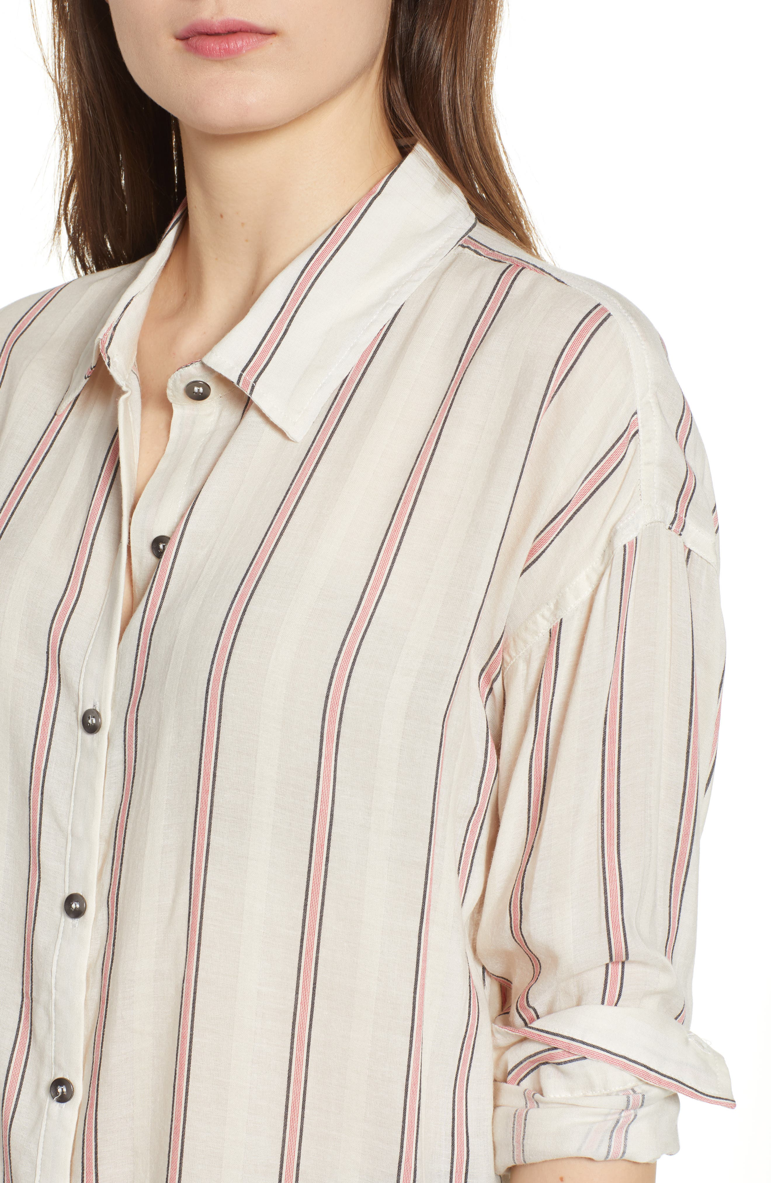 Stripe Woven Shirt,                             Alternate thumbnail 4, color,                             Off White