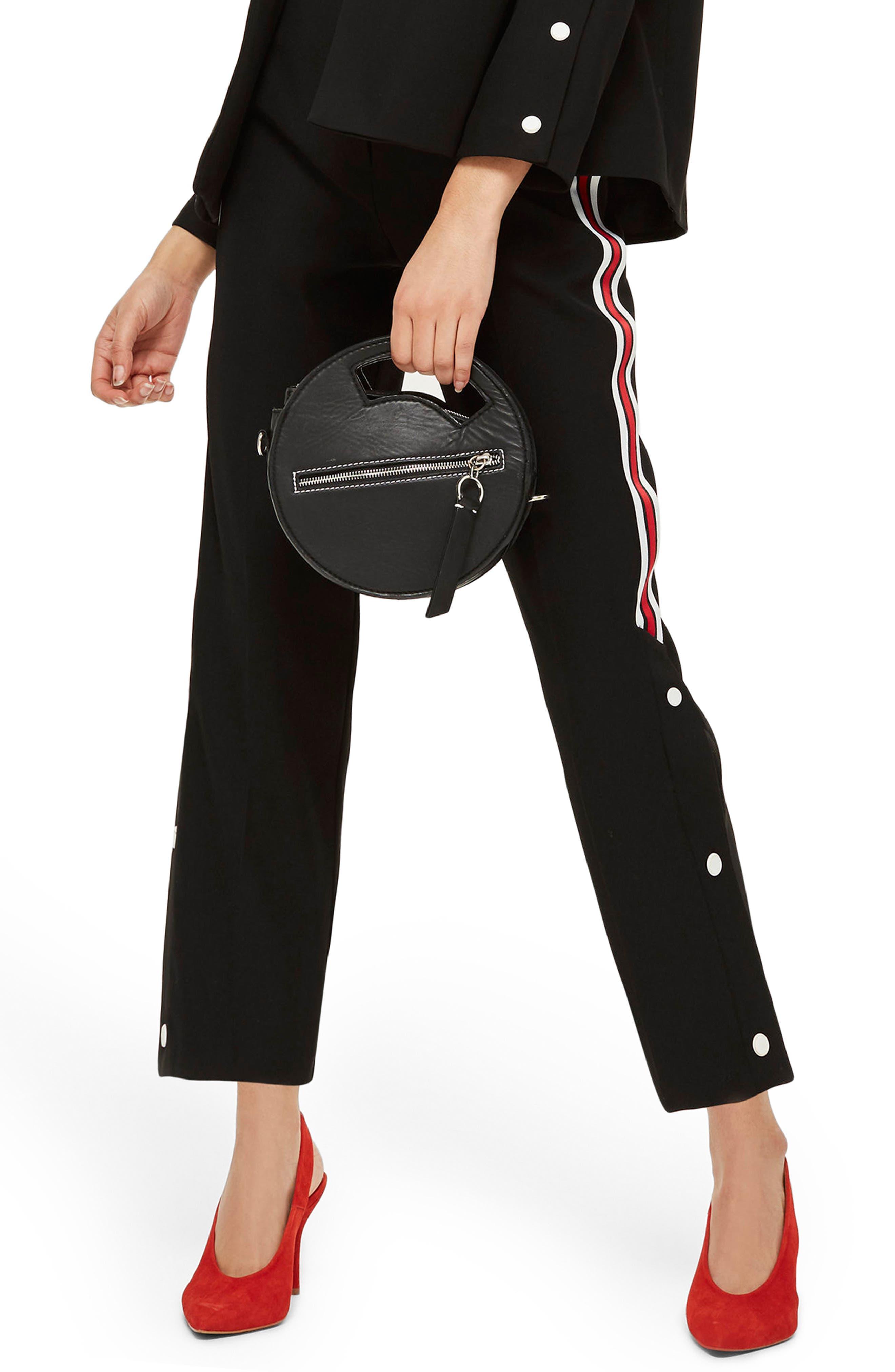 Side Stripe Popper Trousers,                             Main thumbnail 1, color,                             Black Multi