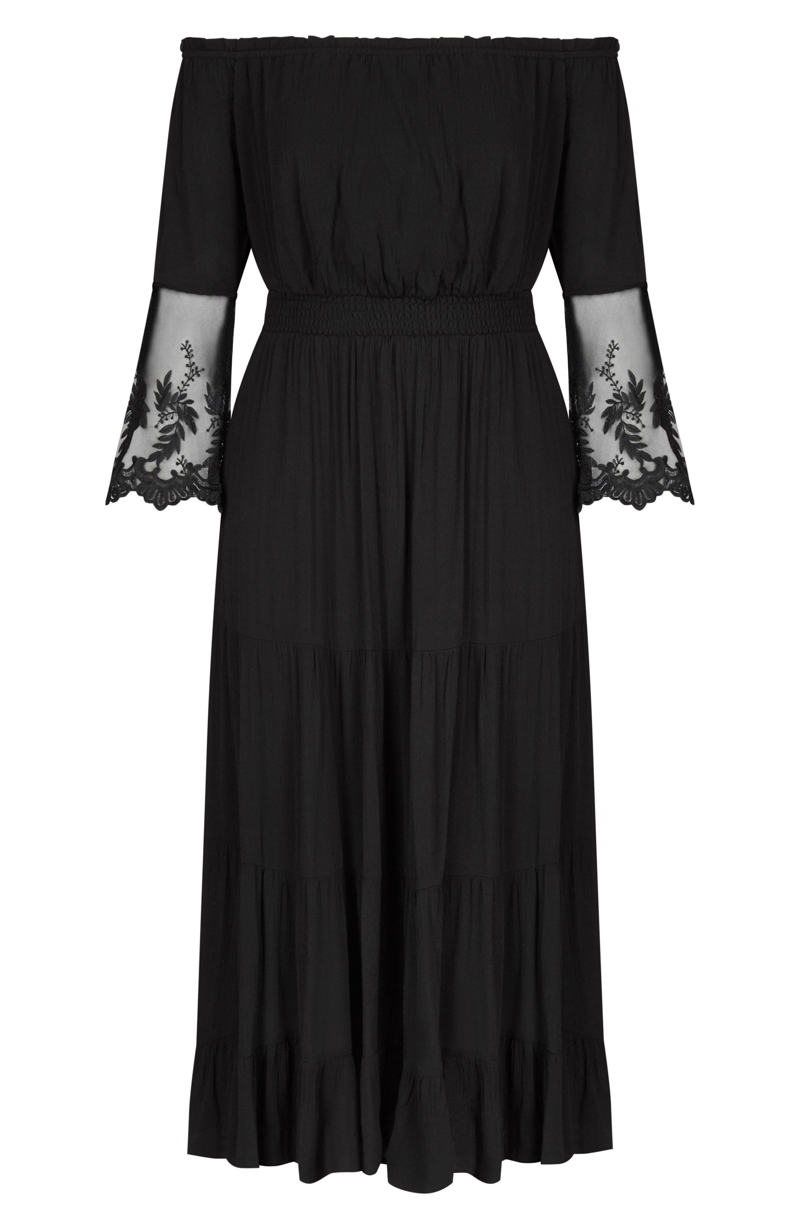 Ethereal Maxi Dress,                             Alternate thumbnail 3, color,                             Black