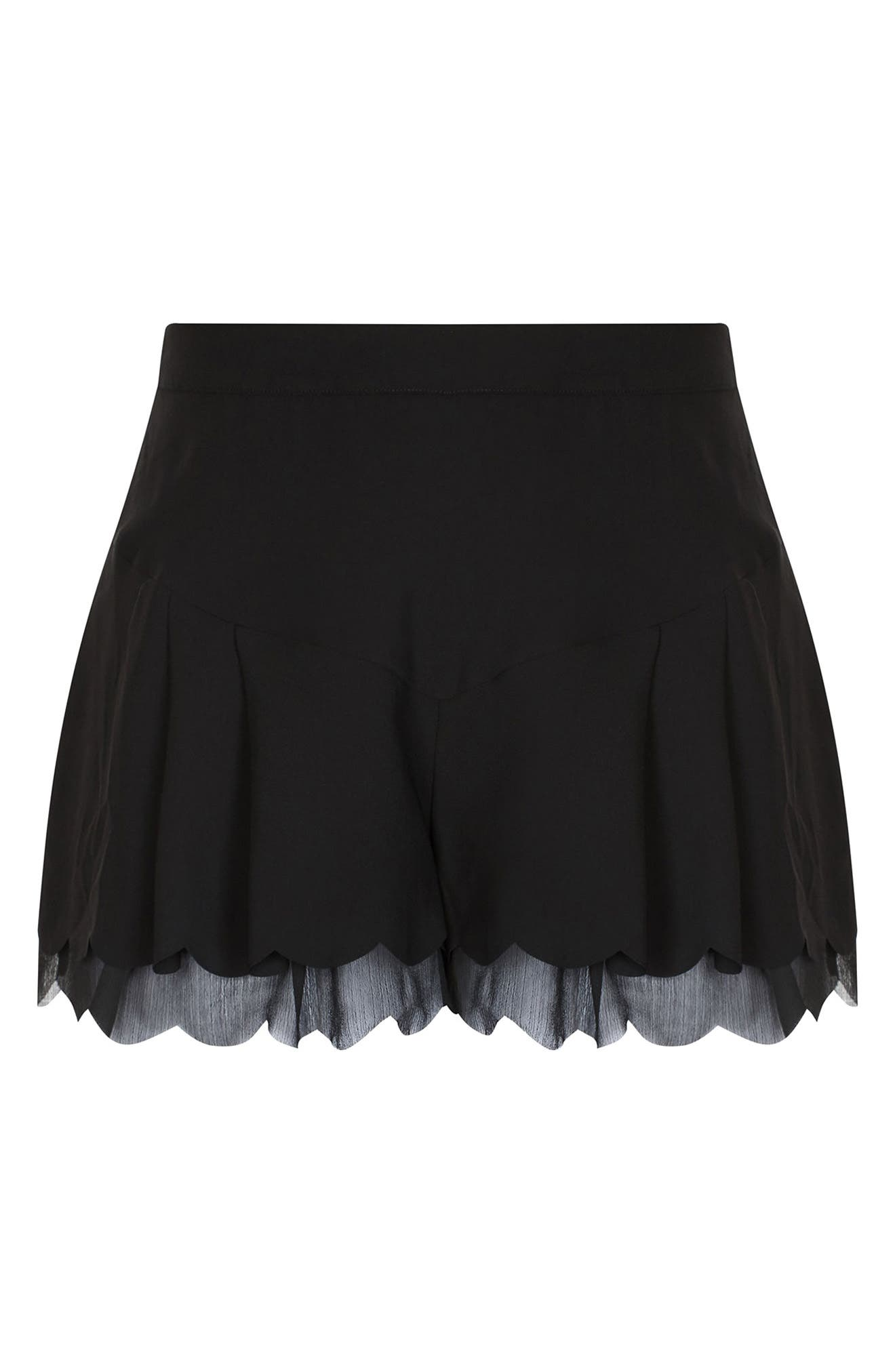 Scallop Hem Shorts,                             Alternate thumbnail 3, color,                             Black
