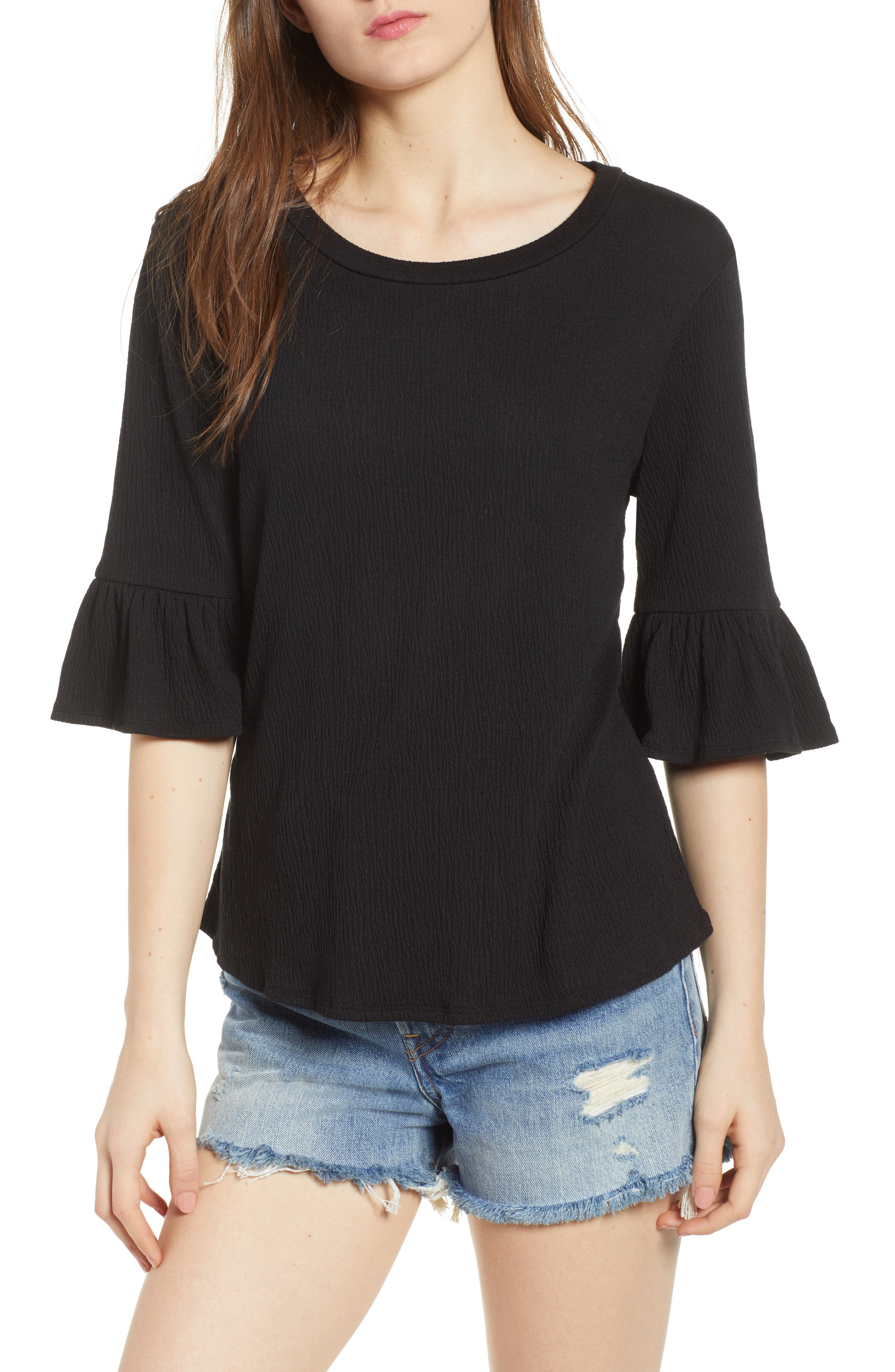 Ruffle Sleeve Top,                         Main,                         color, Black