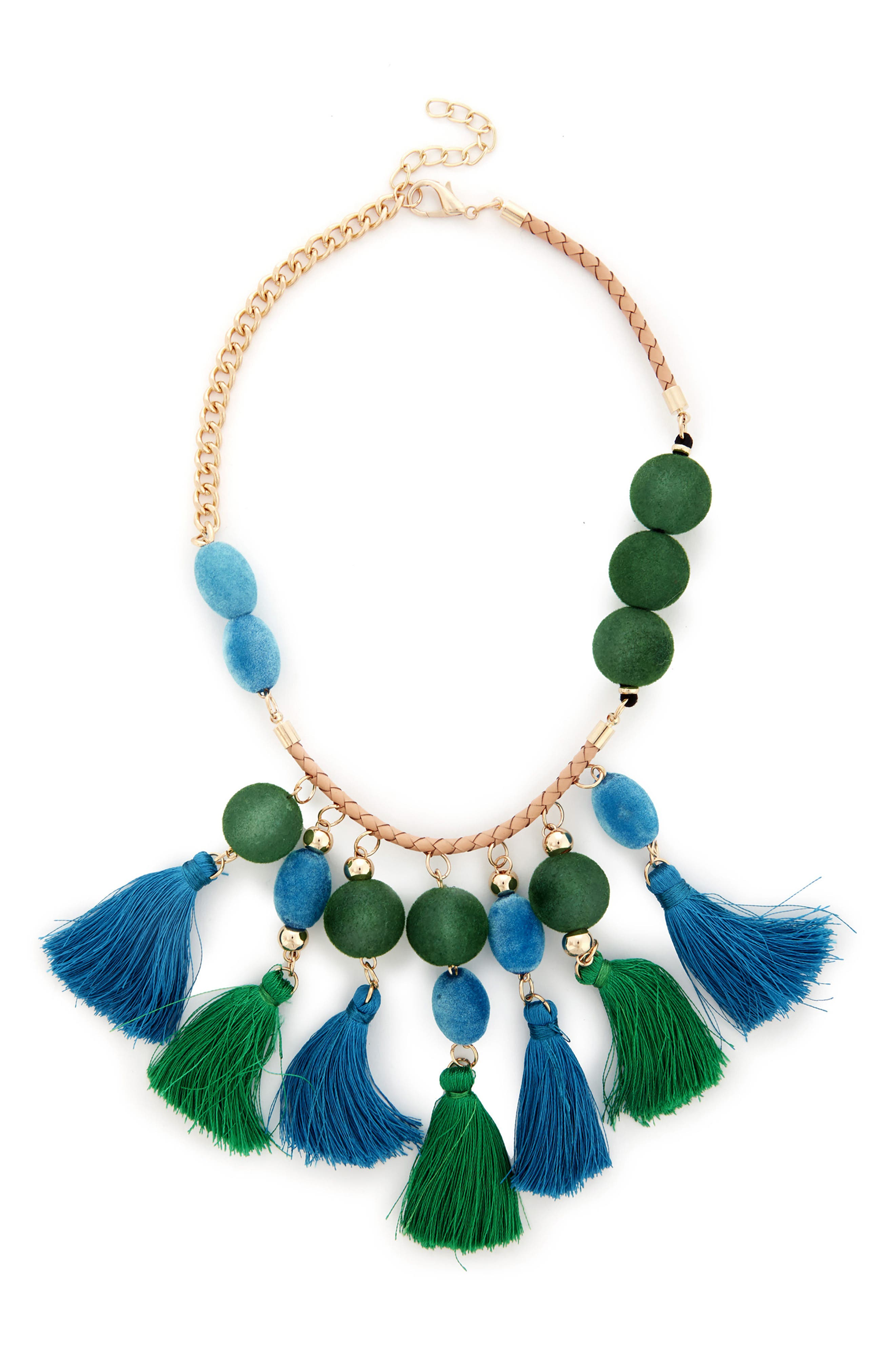 Empire Statement Tassel Necklace,                             Main thumbnail 1, color,                             Green Multi