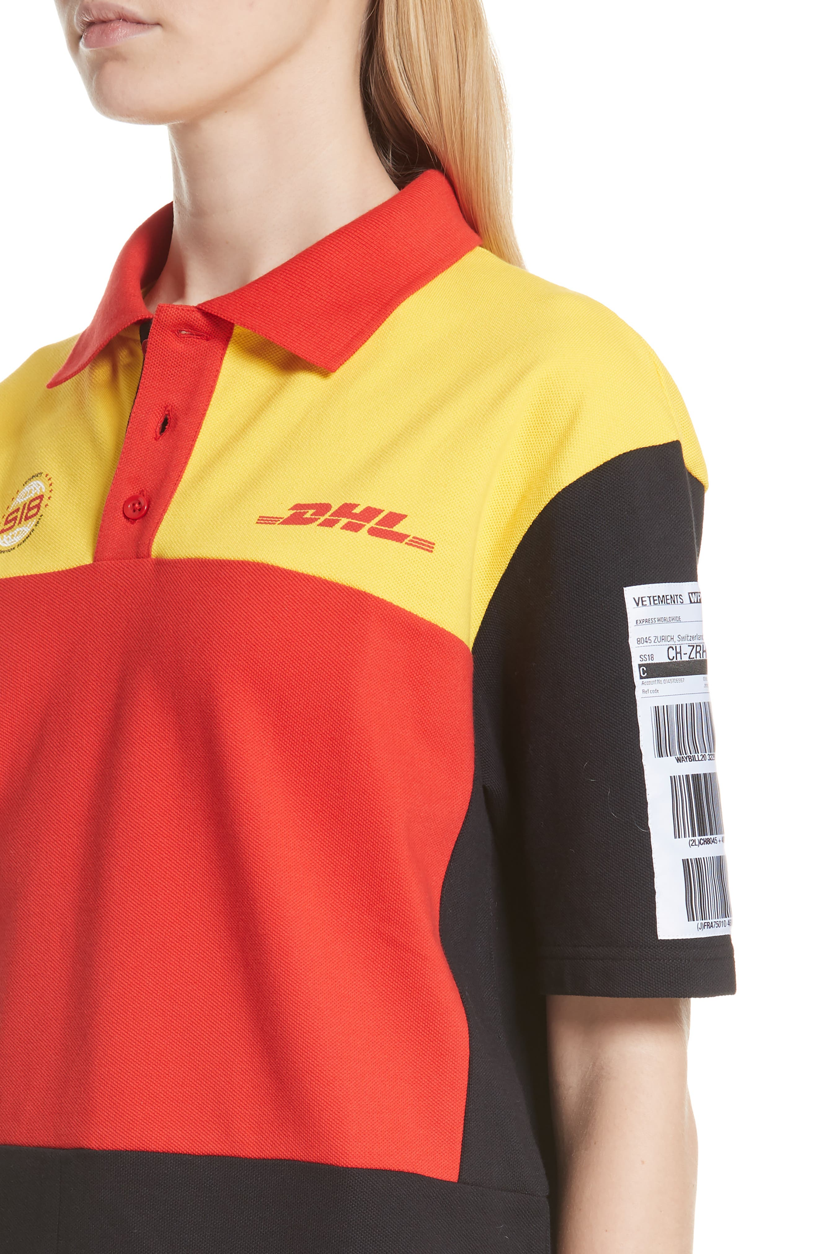 DHL Slim Fit Polo,                             Alternate thumbnail 4, color,                             Yellow