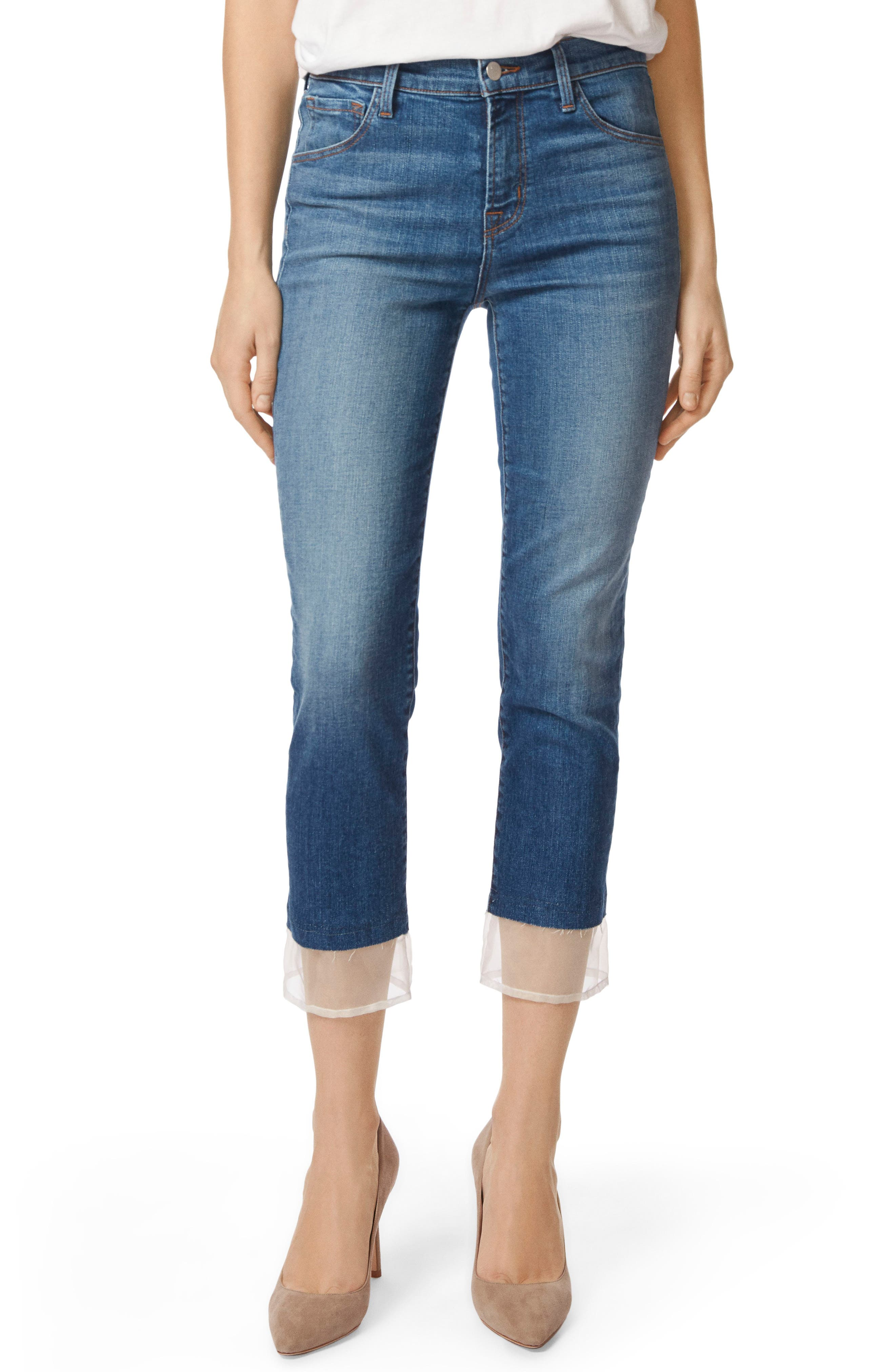 Ruby High Waist Crop Cigarette Jeans,                             Main thumbnail 1, color,                             Gossamer