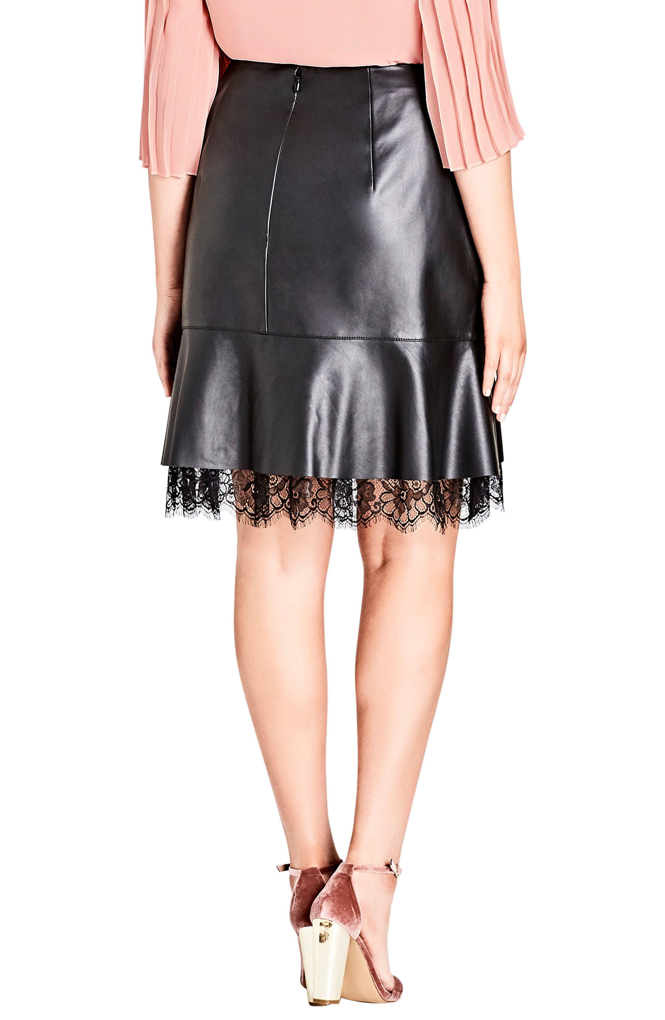 Lace Trim Faux Leather Skirt,                             Alternate thumbnail 2, color,                             Black