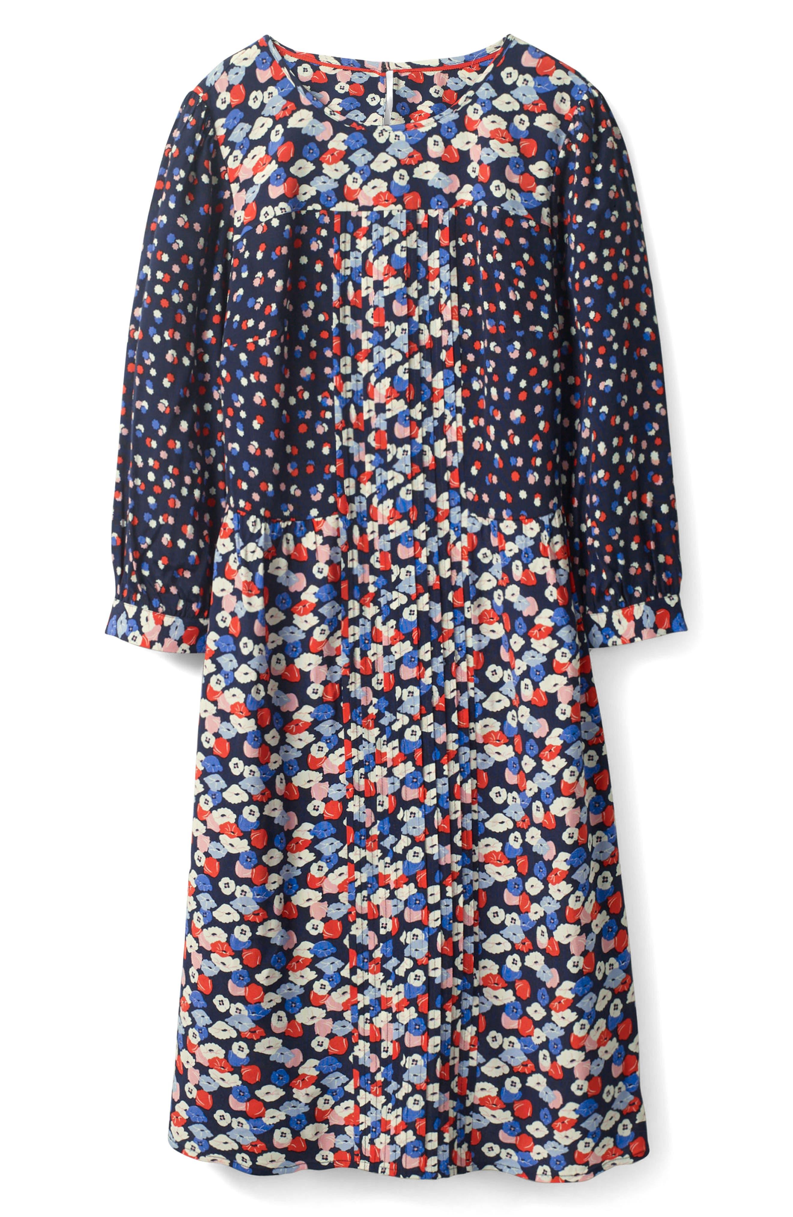 Hotchpotch Pattern Mix Pintuck Dress,                         Main,                         color, Navy Poppy Meadow